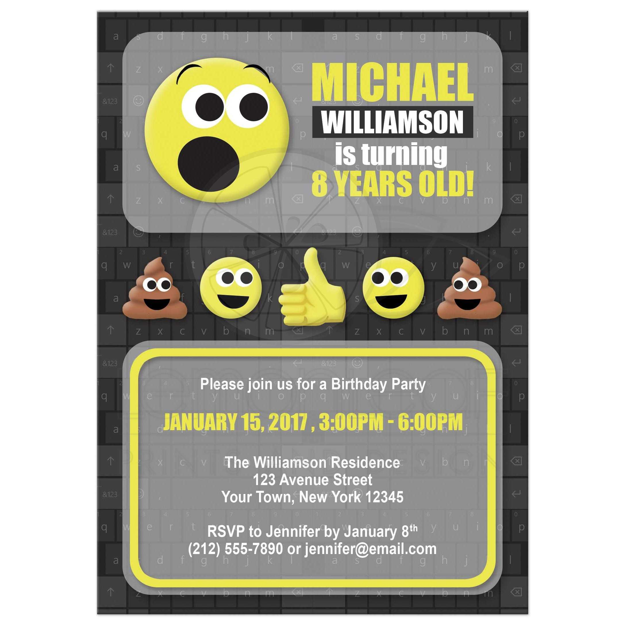 Birthday Party Invitations Emoji Keyboard Gray And Yellow