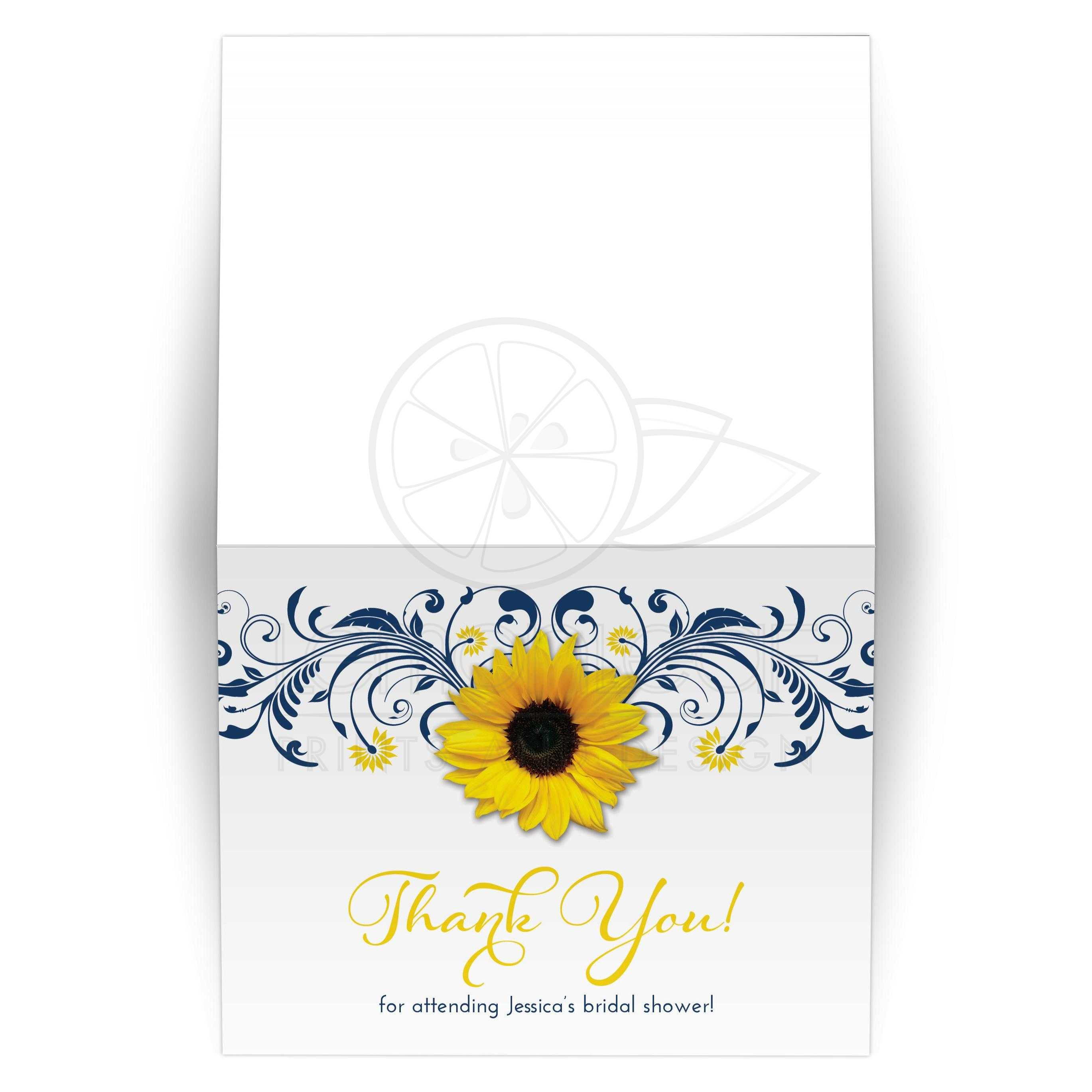Navy Blue And White Fl Yellow Sunflower Elegant Bridal Shower Thank You Card