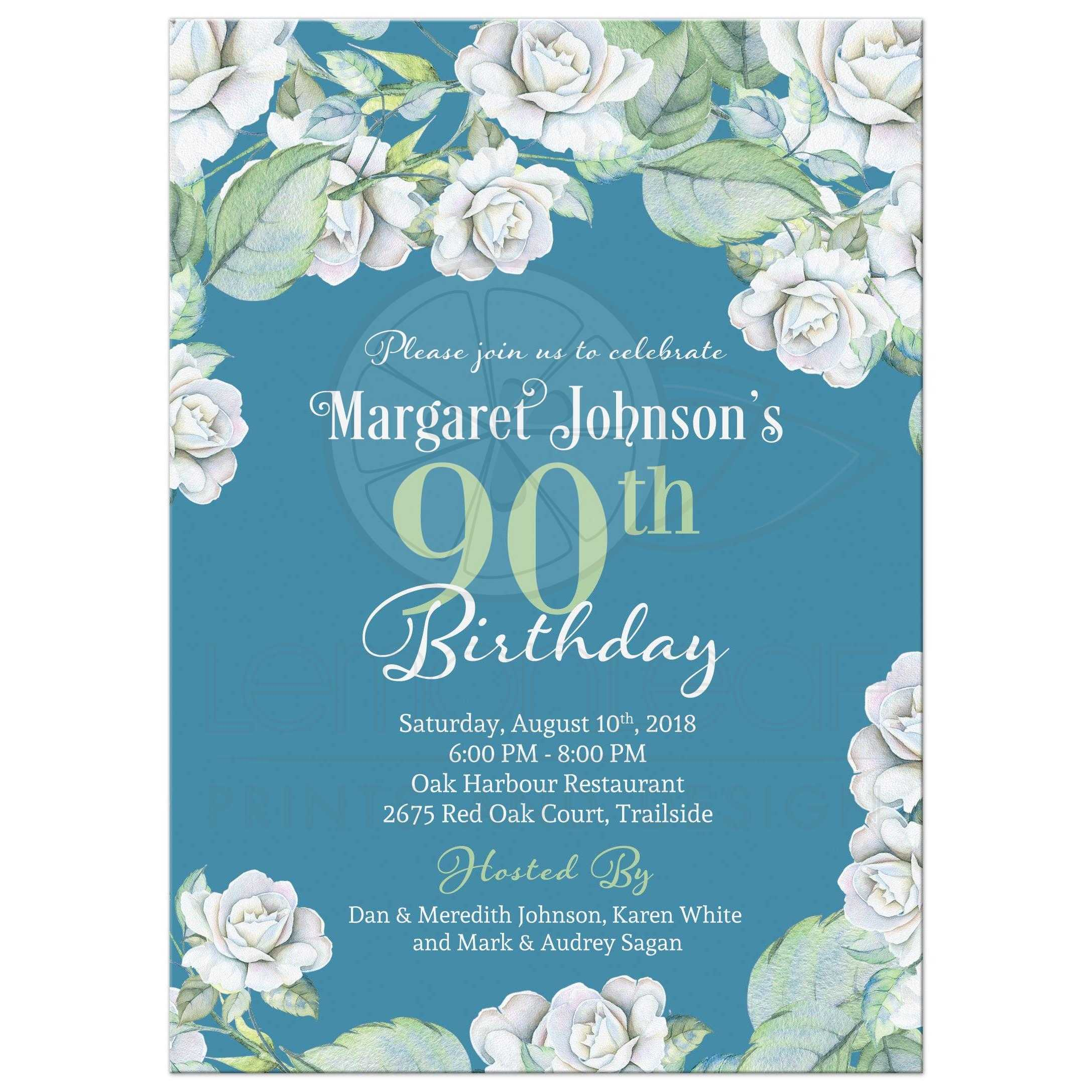Teal And White Rose Floral 90th Birthday Invitation Front