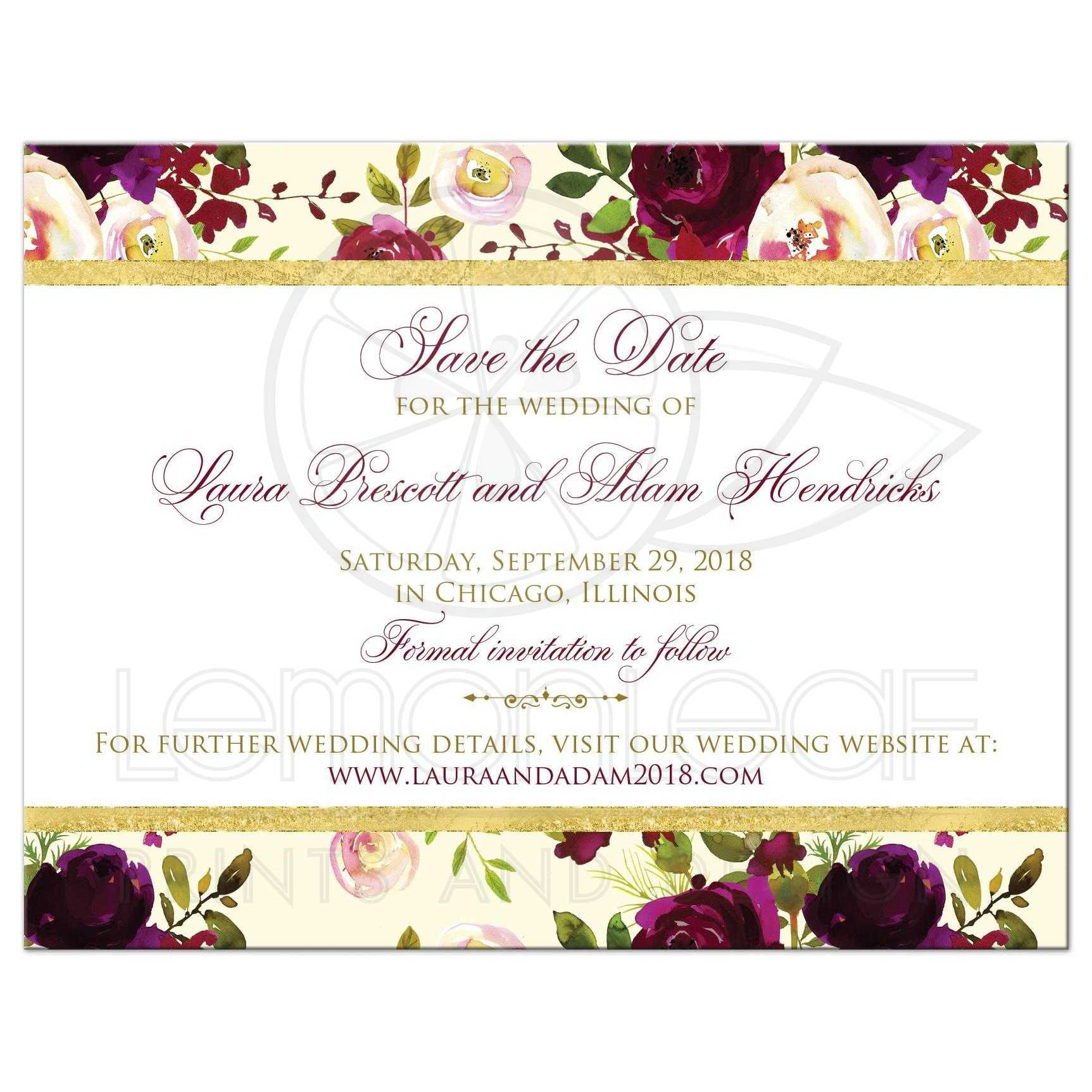 Beautiful Burgundy Watercolor Floral Save the Date Card | Flowers ...