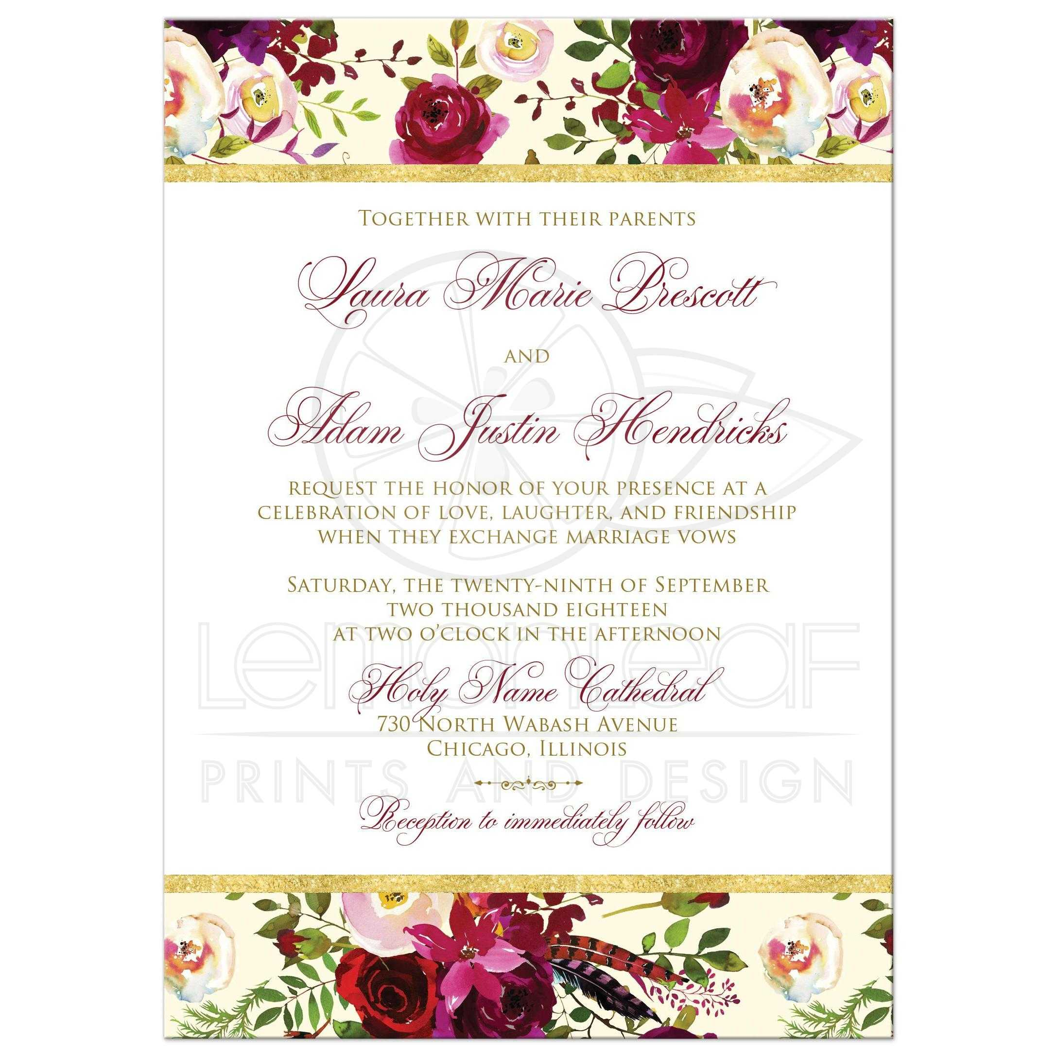 Burgundy Cream White Gold Watercolor Flowers And Feathers Wedding Invitations For Bohemian: Wedding Invitations With Flowers At Websimilar.org