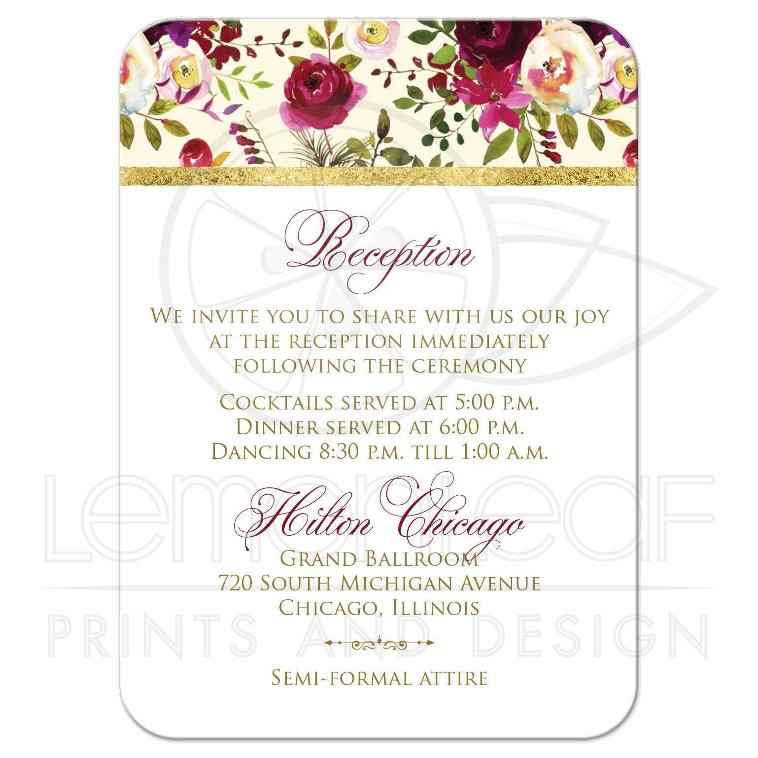 beautiful burgundy watercolor flowers wedding insert florals feathers scroll. Black Bedroom Furniture Sets. Home Design Ideas