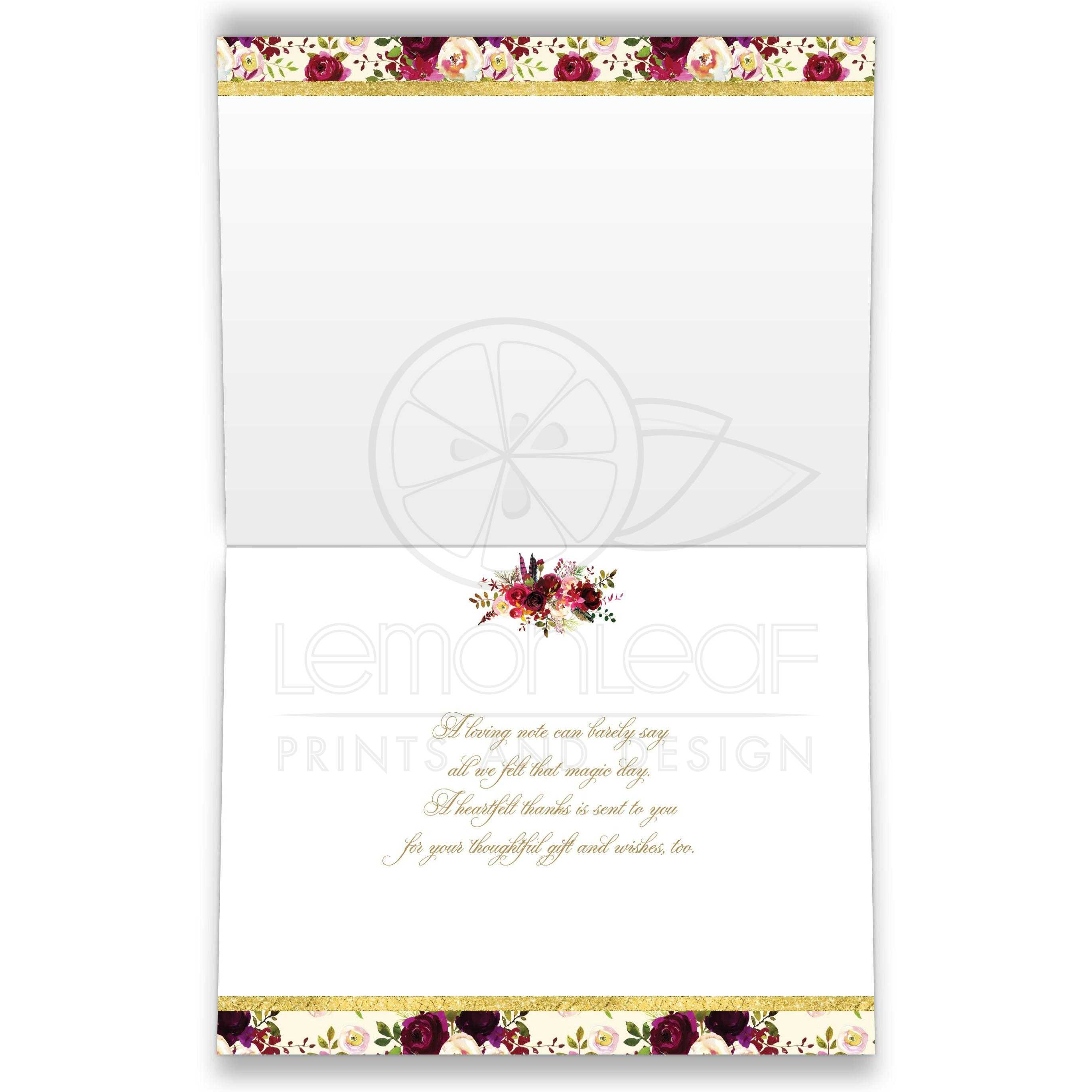 Personalized Beautiful Burgundy Watercolor Flowers and Feathers