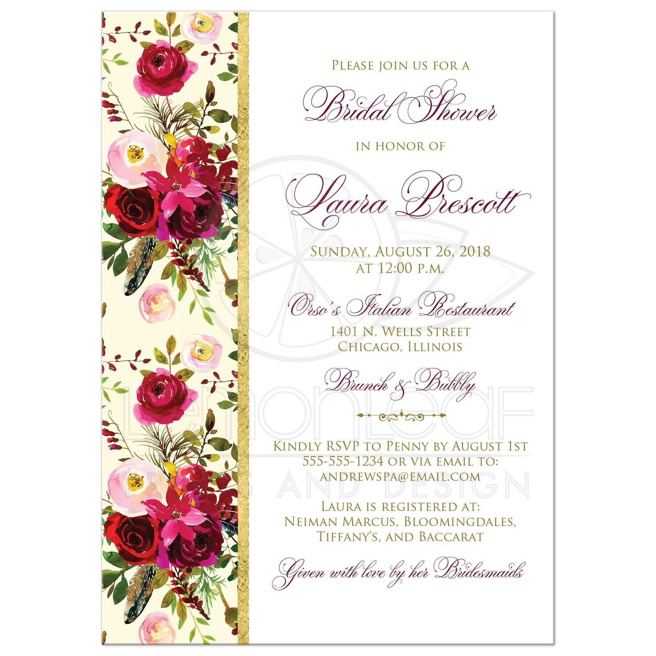 Beautiful Burgundy Watercolor Florals Bridal Shower Invitation ...