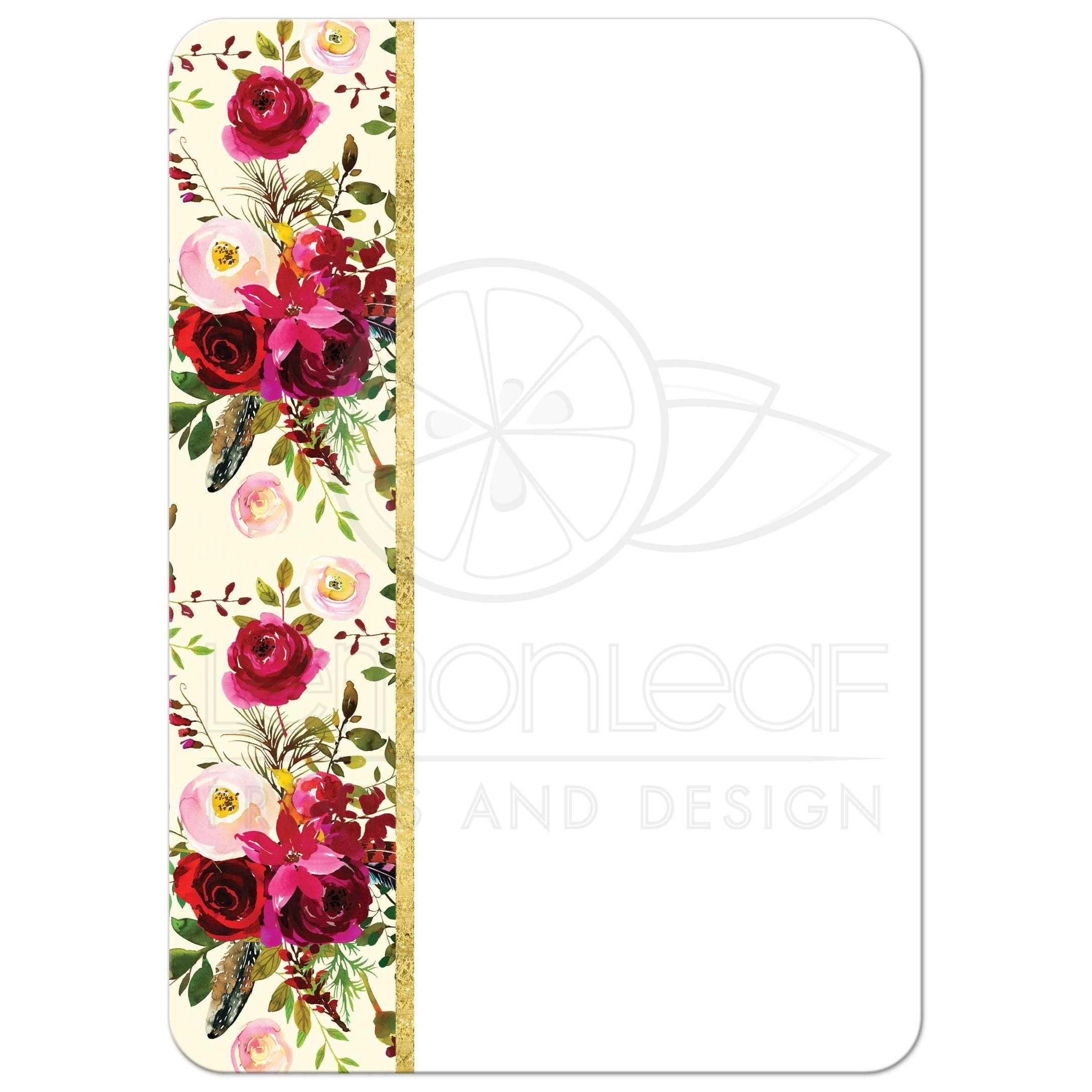 red cream white gold green brown watercolor flowers and