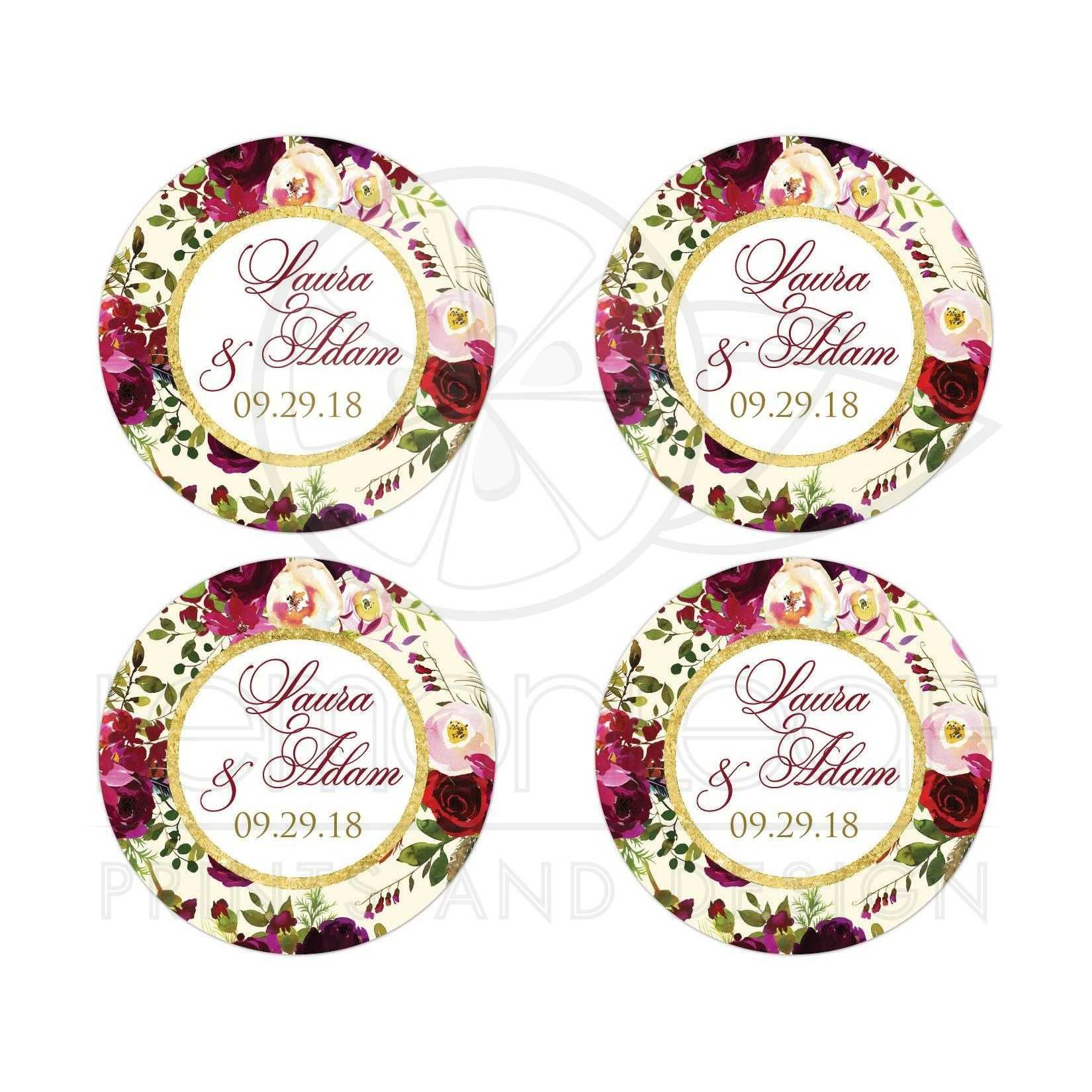 Beautiful burgundy watercolor flowers and feathers wedding favor sticker simulated gold