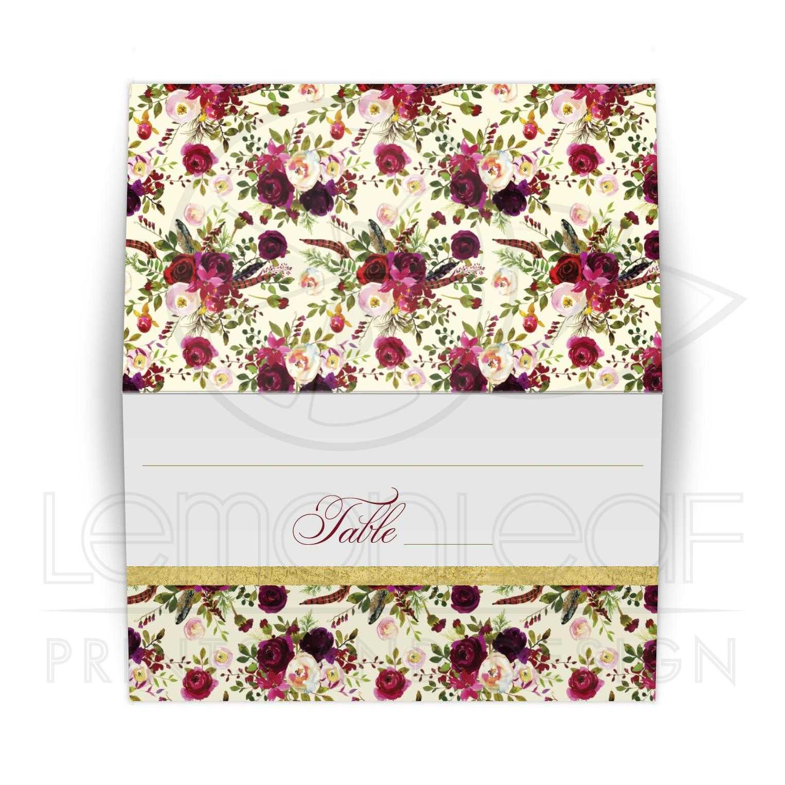 Beautiful Burgundy Watercolor Flowers Feathers Folded Place Card