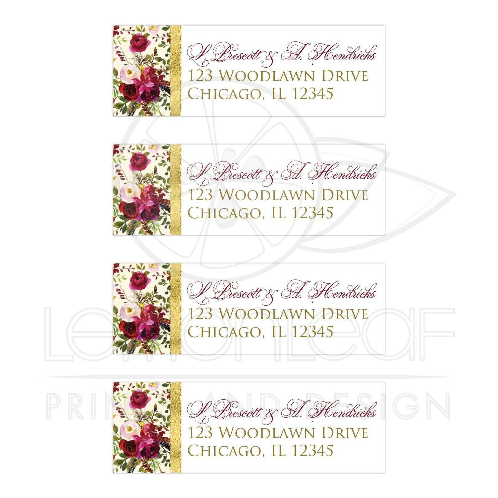 Label Design For Wedding Invitations Wedding Invitation: Beautiful Burgundy Watercolor Floral, Feathers Wedding
