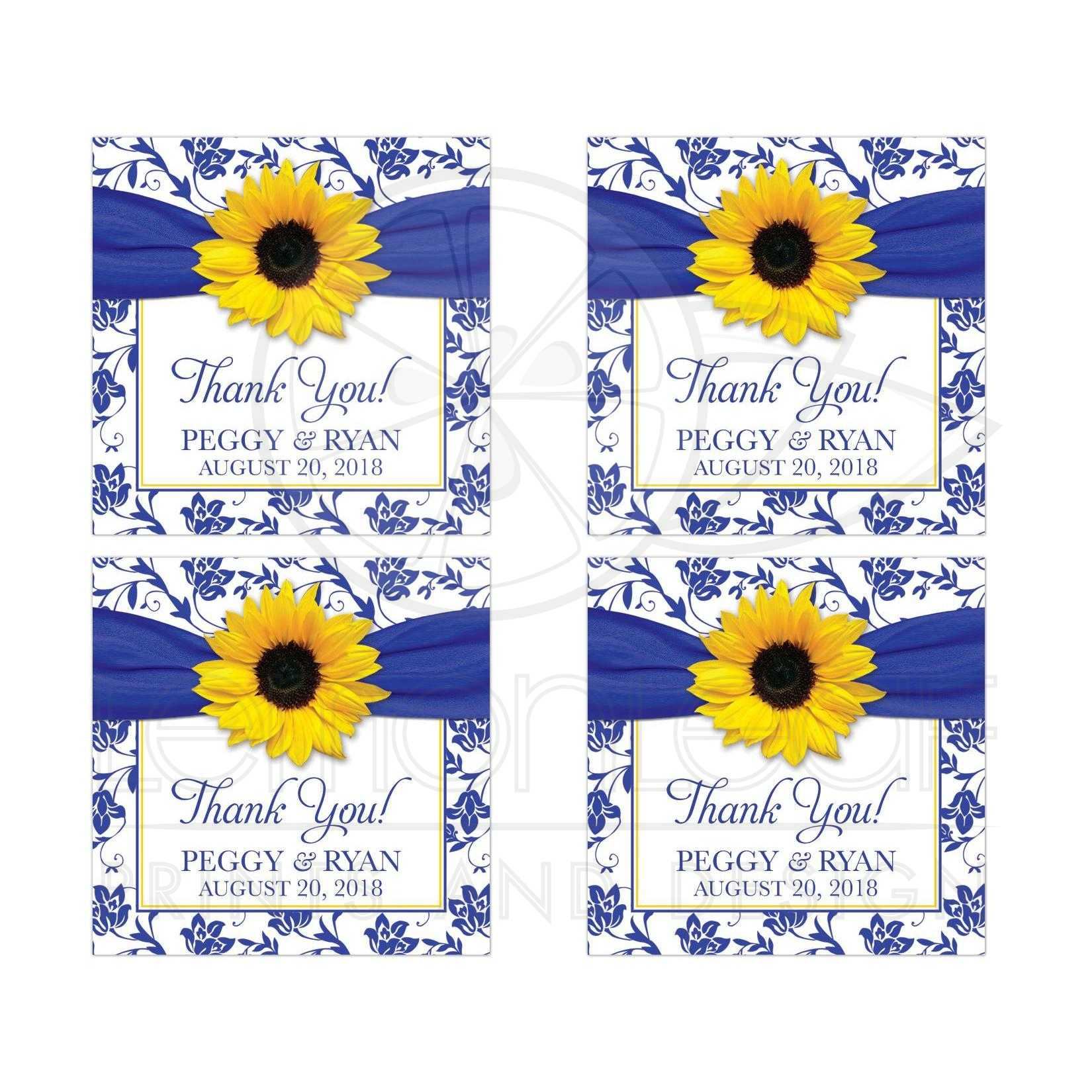 Sunflower Royal Blue Damask Wedding Thank You Stickers
