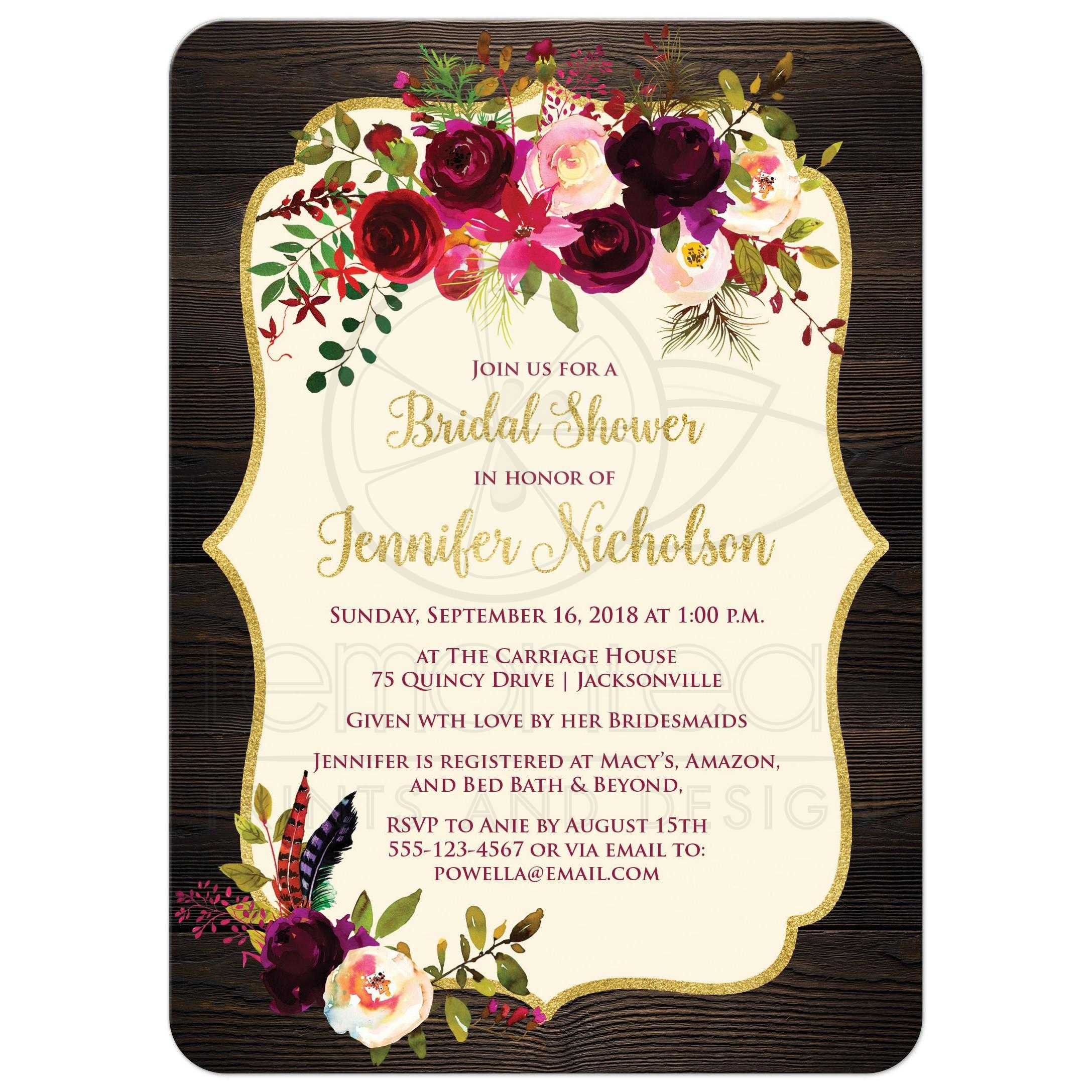 Rustic Boho Elegance Bridal Shower Invitation