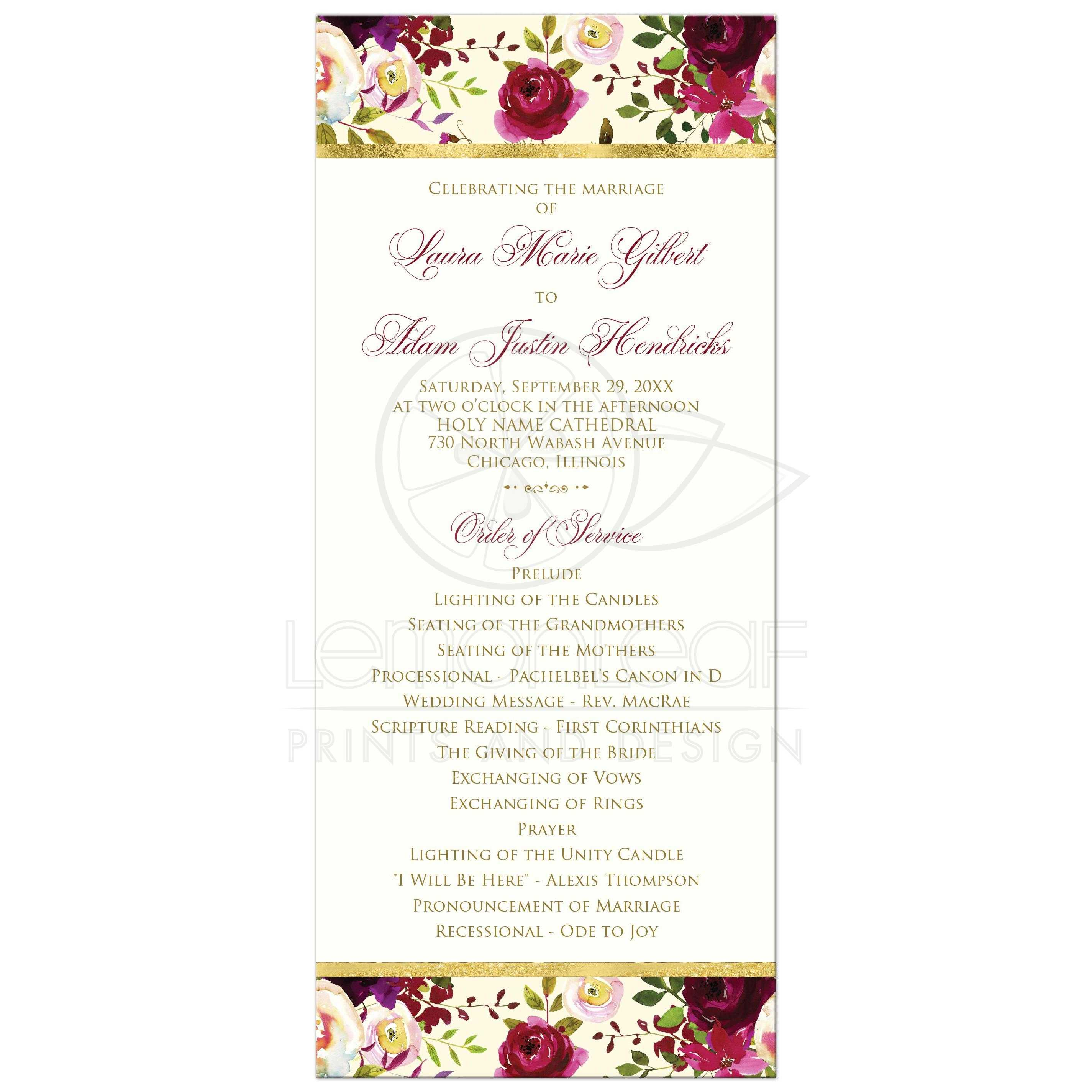 floral wedding program burgundy watercolor flowers feathers