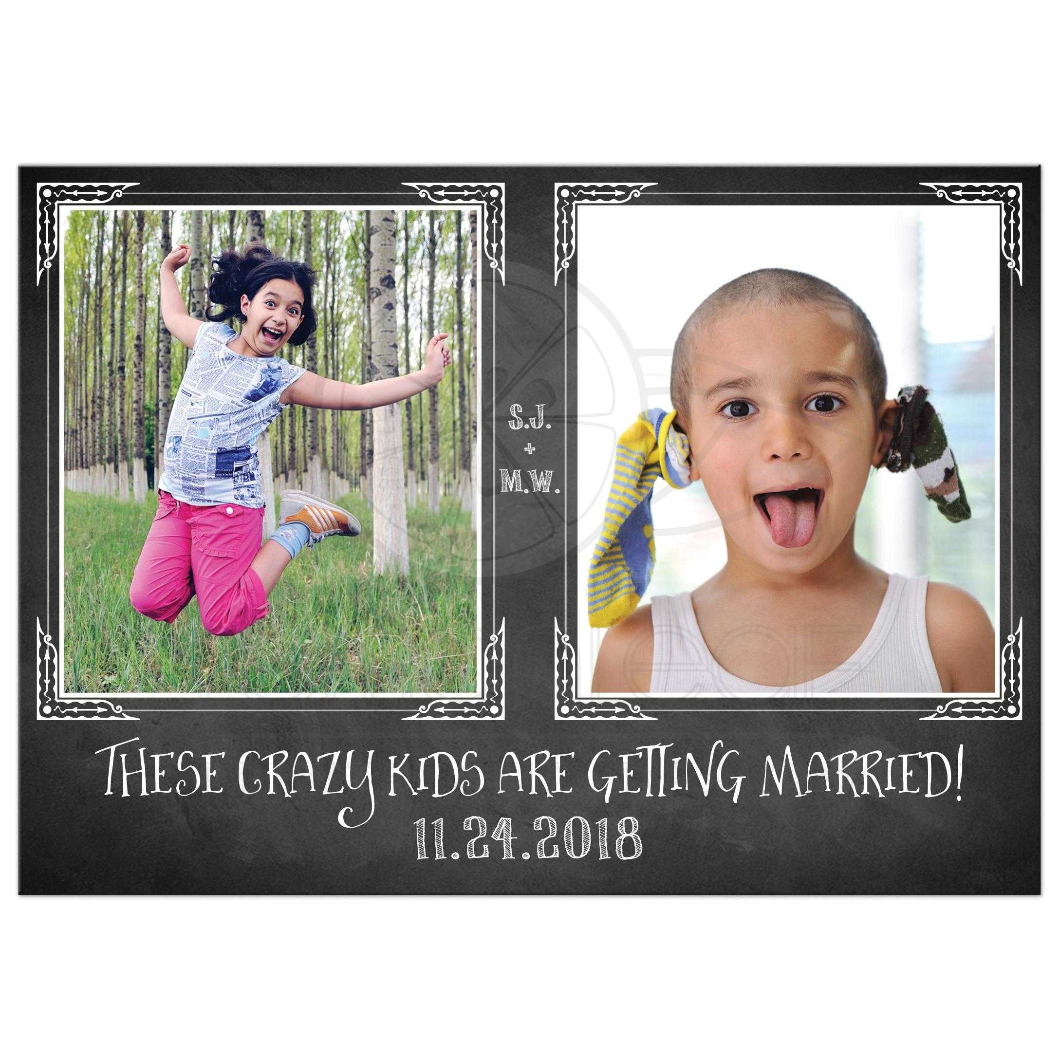Crazy Kids Photo Template Wedding Save the Date Card | Faux ...