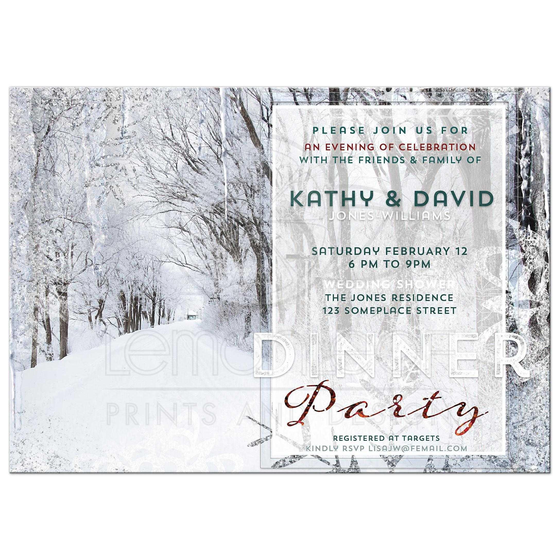 snowy winter wedding baby shower invitation