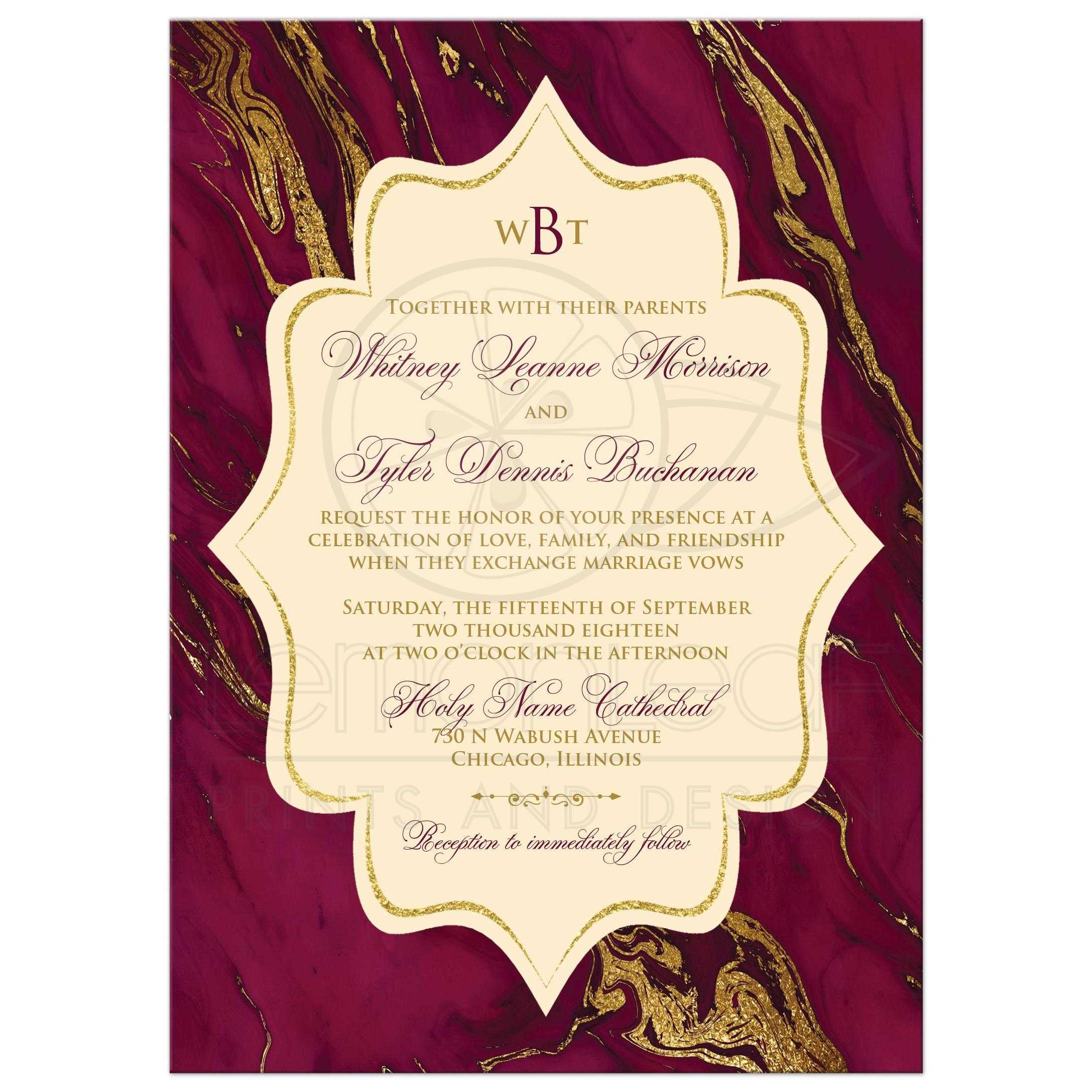 Dramatic Burgundy Cream With Simulated Gold Marble Wedding