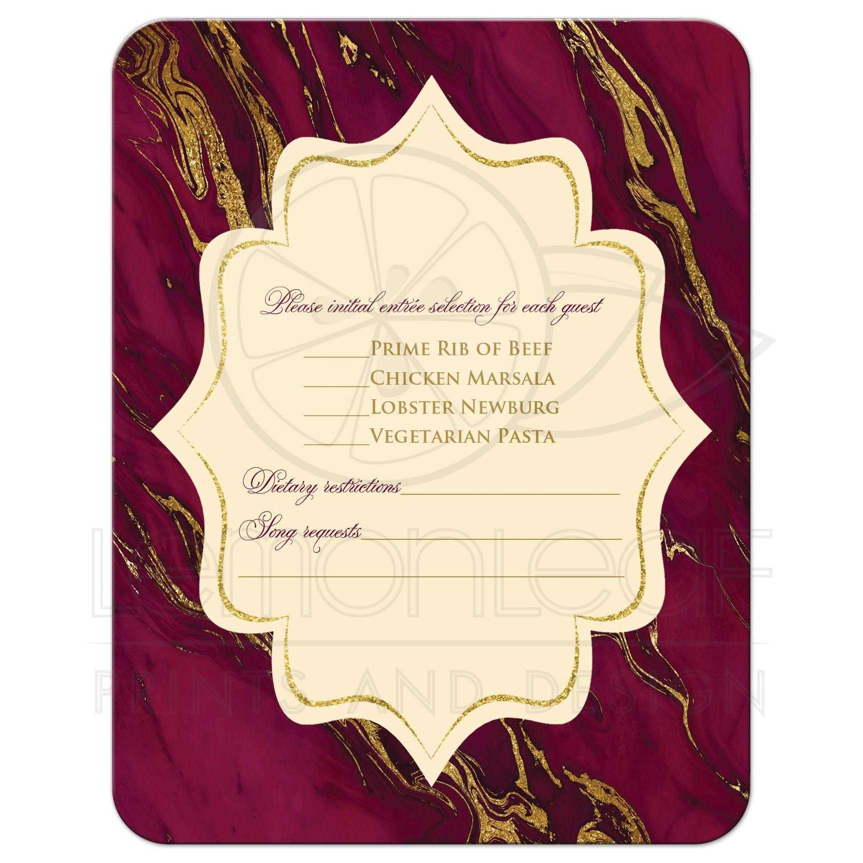 monogram burgundy ivory cream and gold simulated marble wedding rsvp enclosure cards