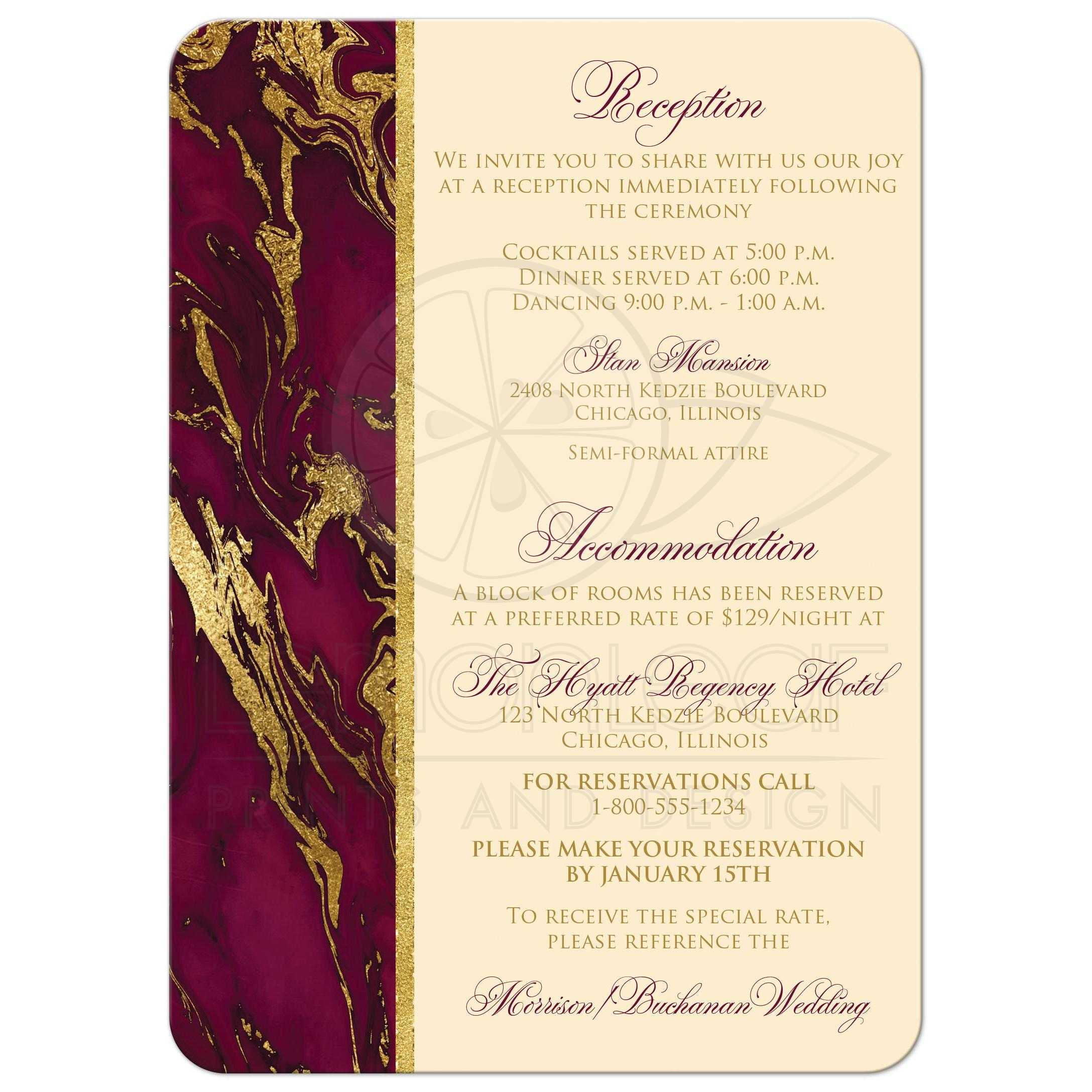 Beautiful Burgundy and Gold Glitter Marble Wedding Invitation with ...
