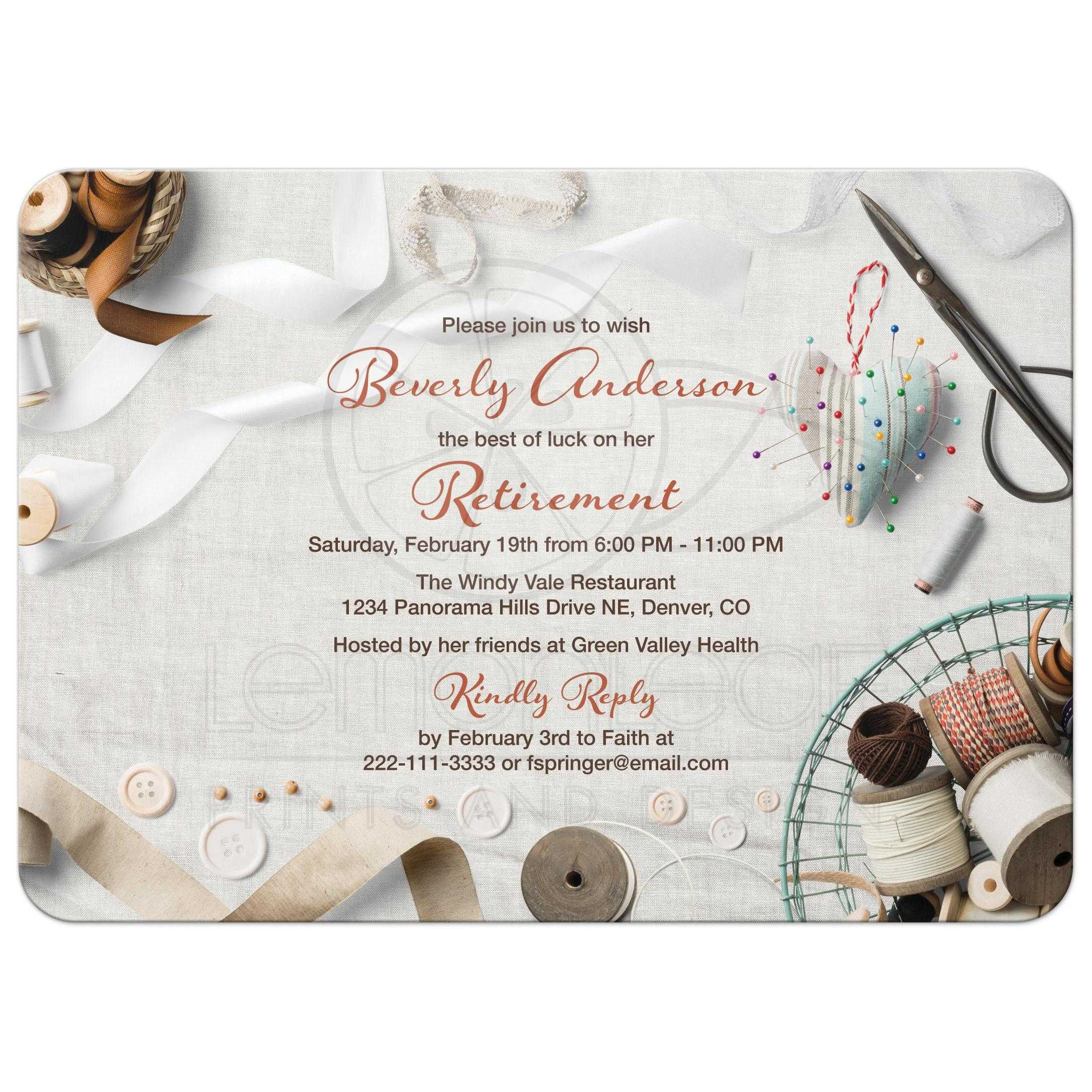 Seamstress Sewing Retirement Party Invitation