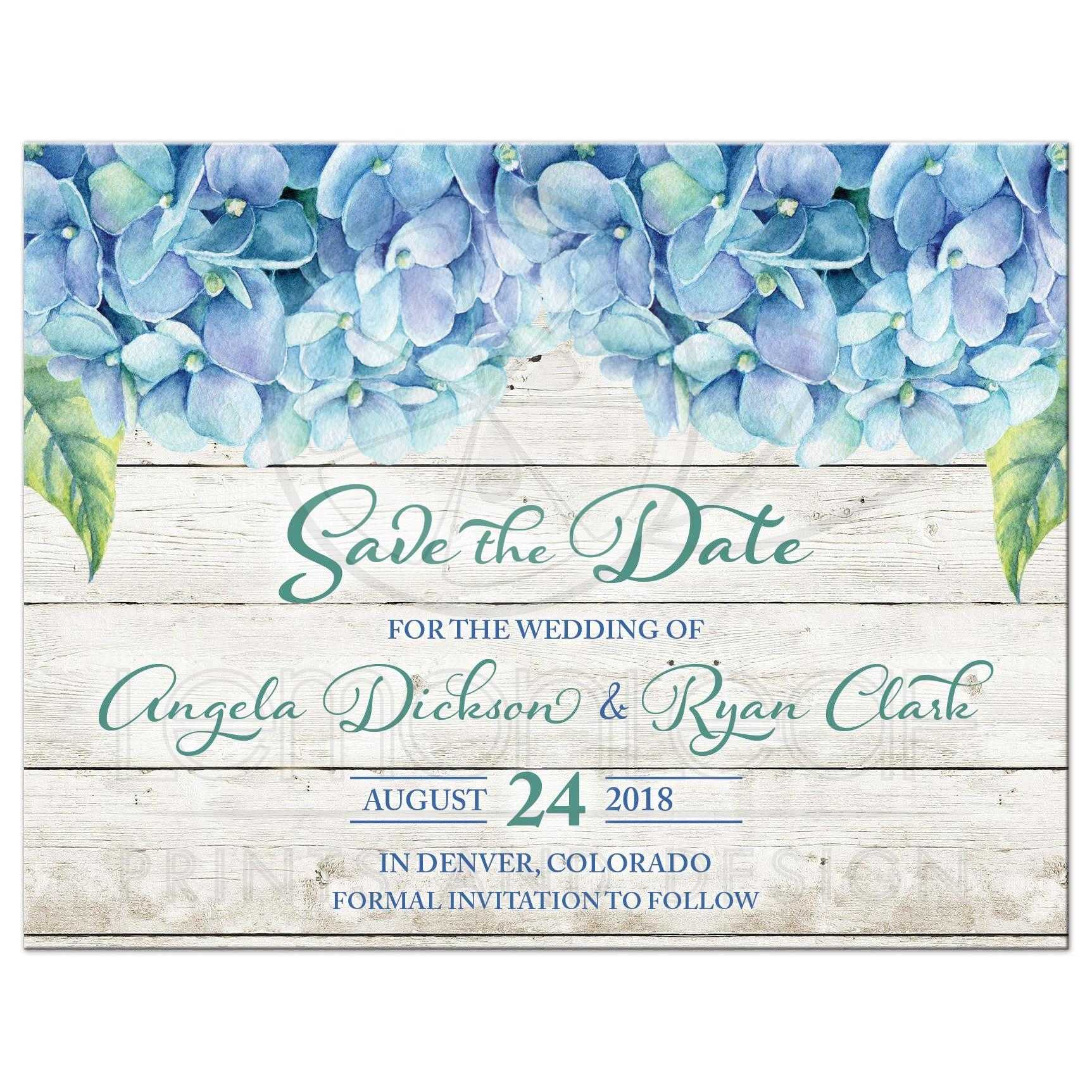 Wedding Save The Dates.Blue Hydrangea Wedding Save The Date Blue Green Floral Watercolor