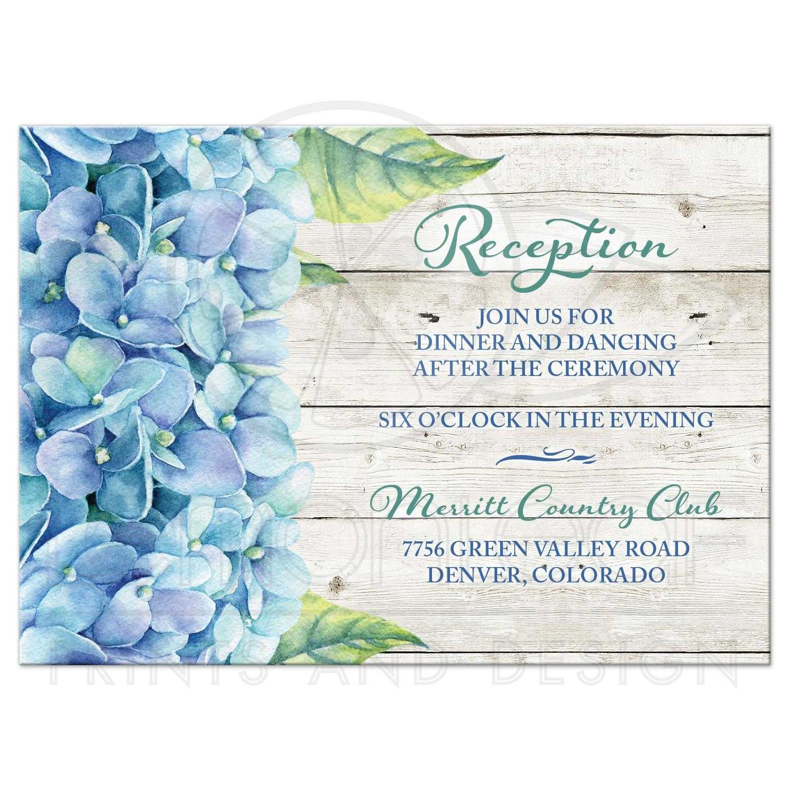 blue hydrangea wedding reception card blue green floral watercolor