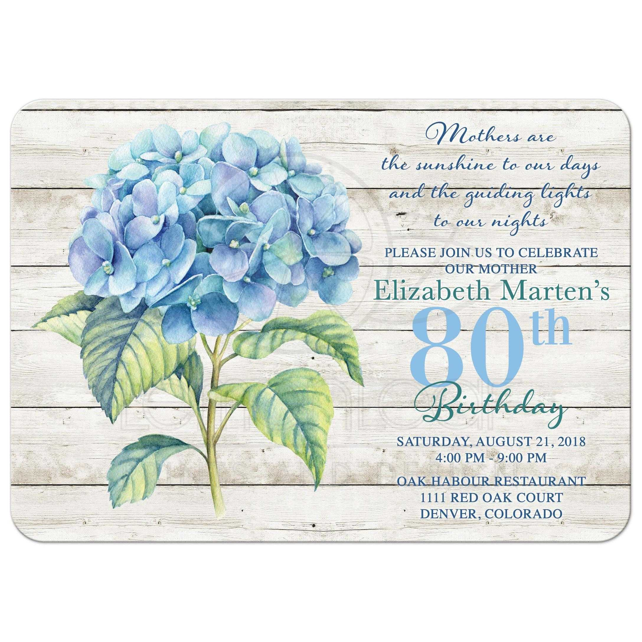 Rustic Blue Hydrangea Flower 80th Birthday Invitation For An Adult Woman Front