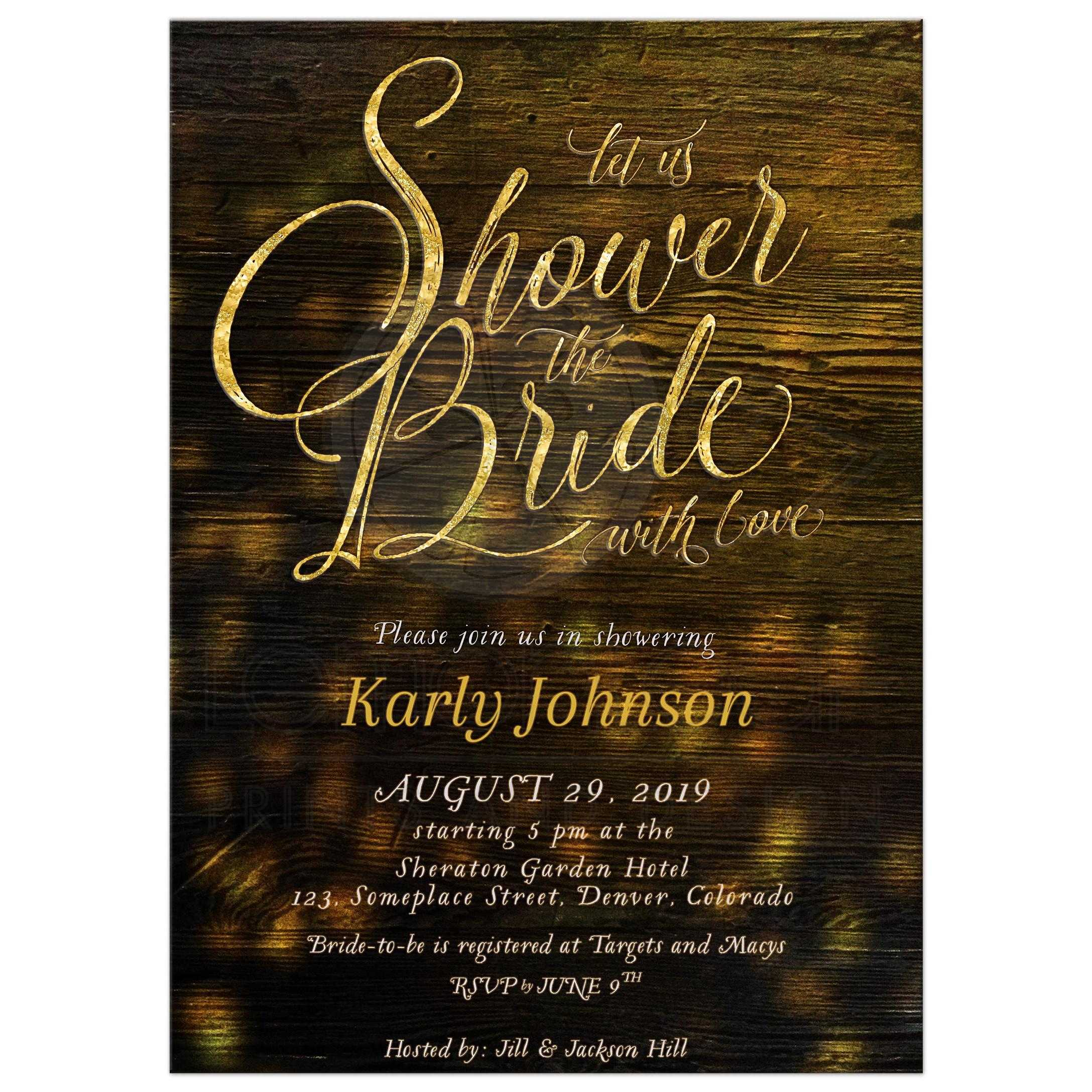 3279d15631f Rustic Lights Bridal Shower the Bride Party Invitation ...