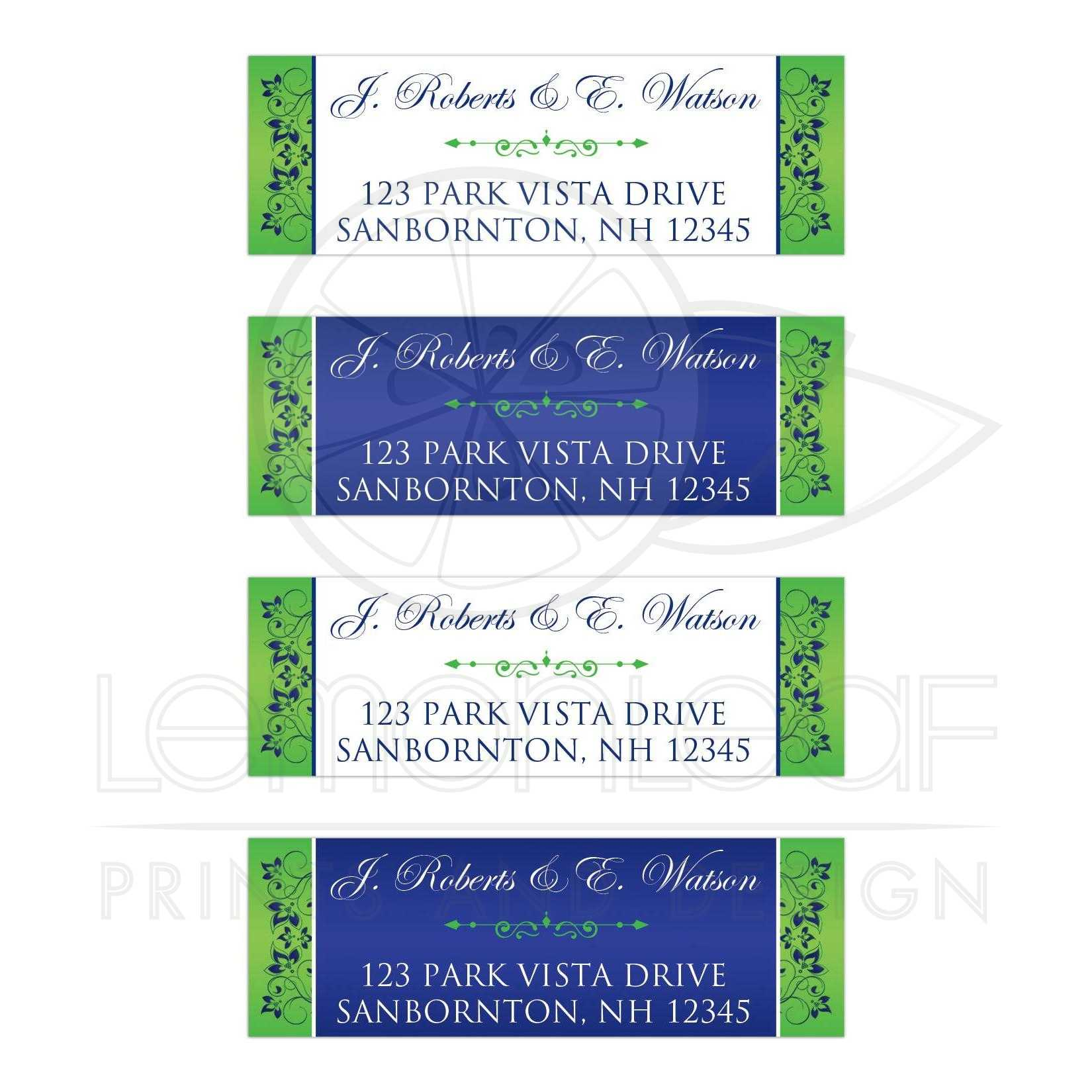 royal blue lime green white floral address labels