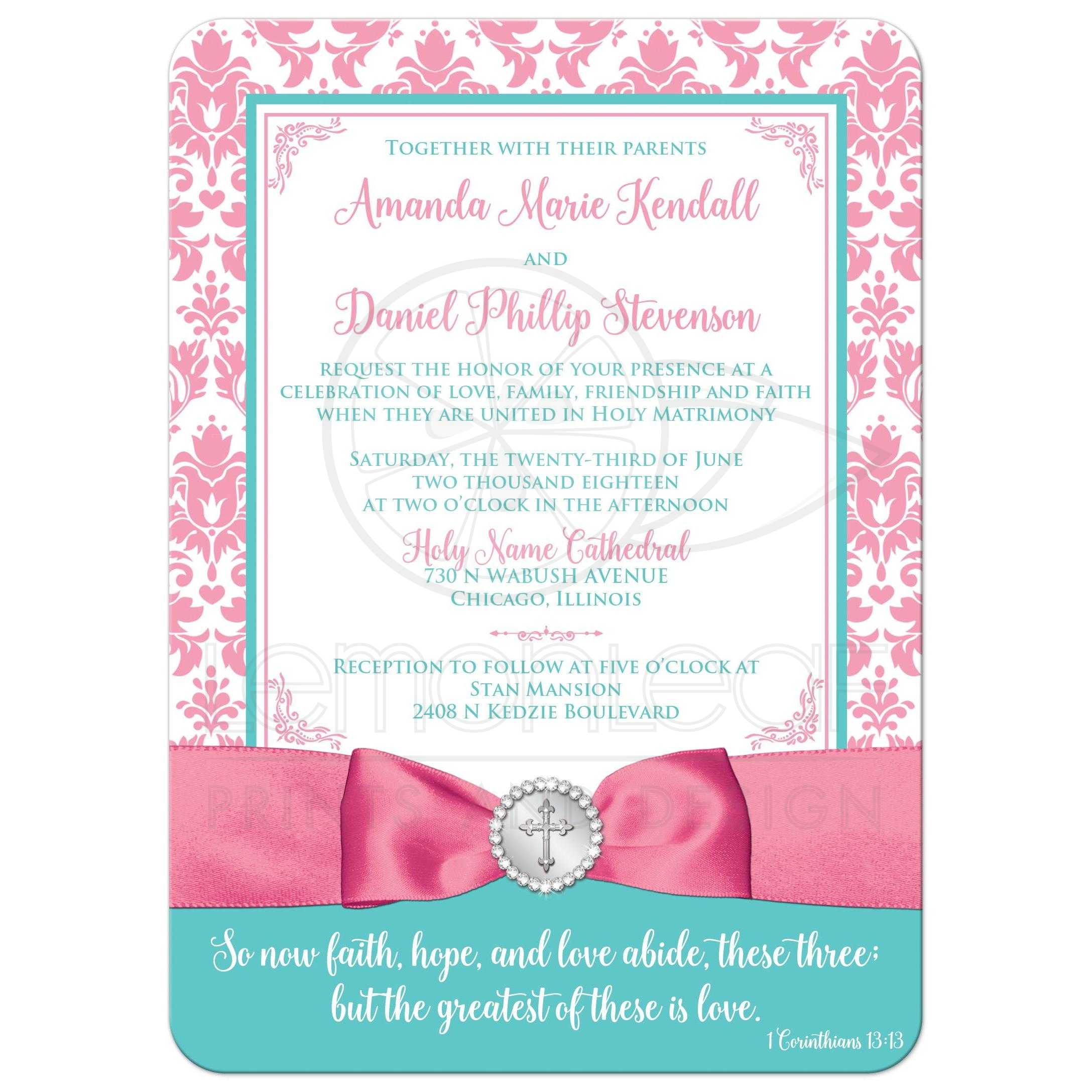 ... Christian wedding invitation in pink, aqua blue, white damask with ribbon, bow, ...