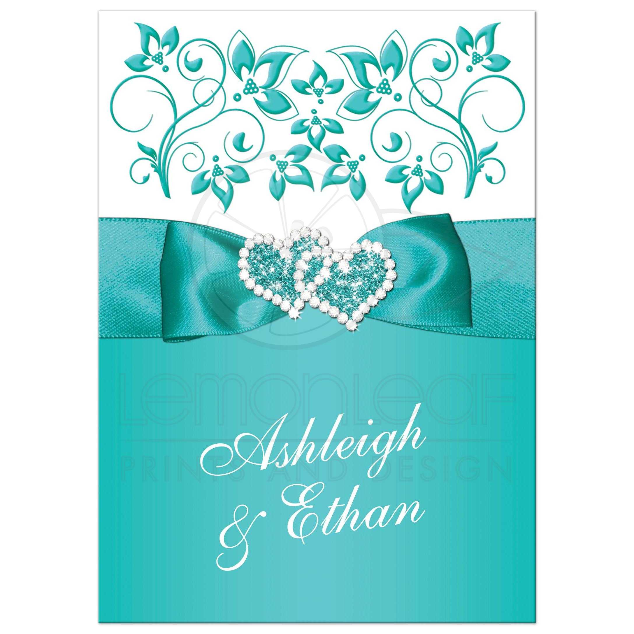 Turquoise or teal and white floral wedding invitation with joined jewel and glitter hearts brooch, ...