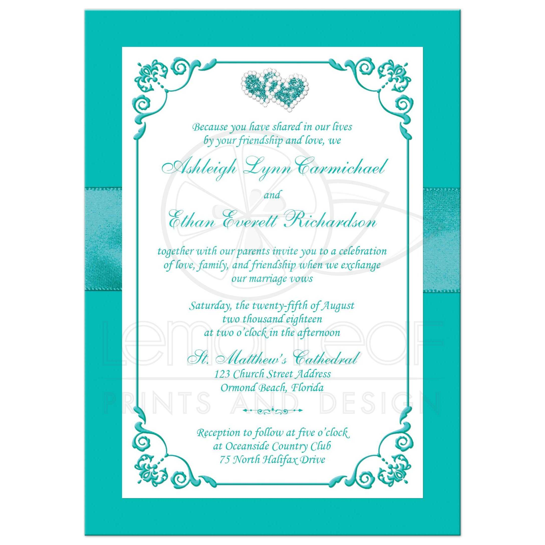 Aqua-Marine, White Floral Wedding Invitation with PRINTED Ribbon ...