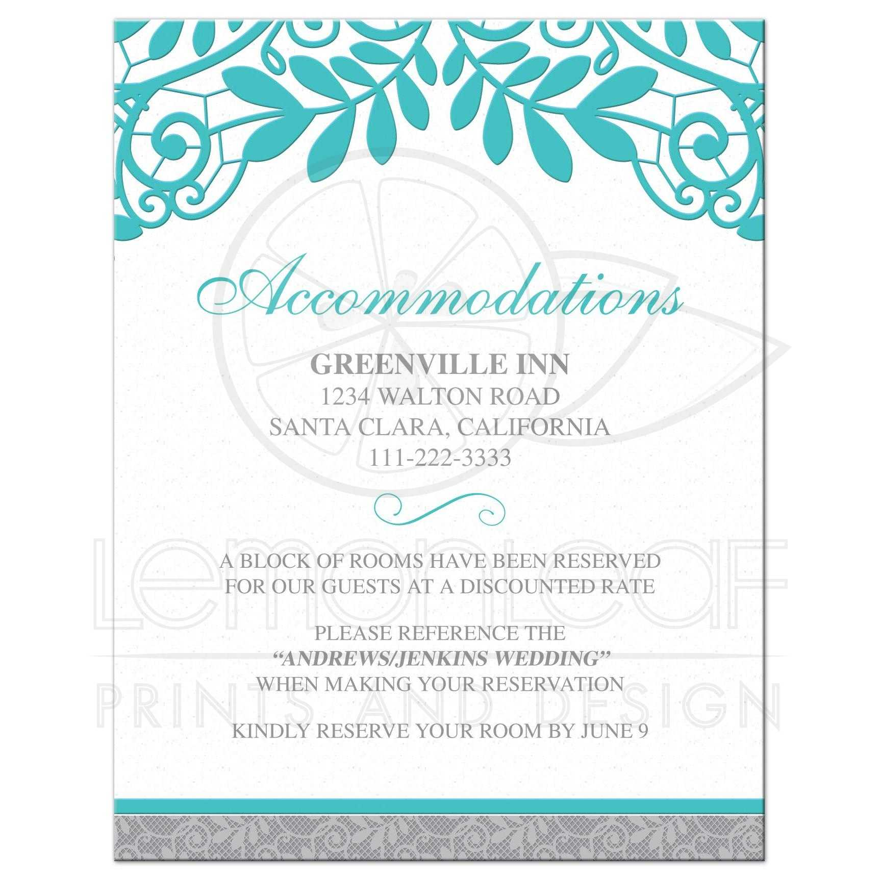 Elegant Turquoise And Silver Grey Lace Wedding Details Insert Card Front