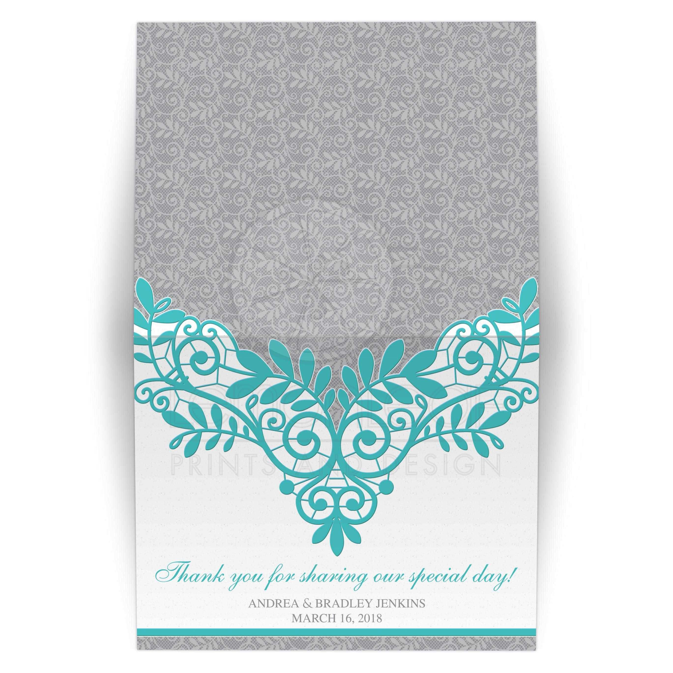 Turquoise Silver Lace Wedding Thank You Card
