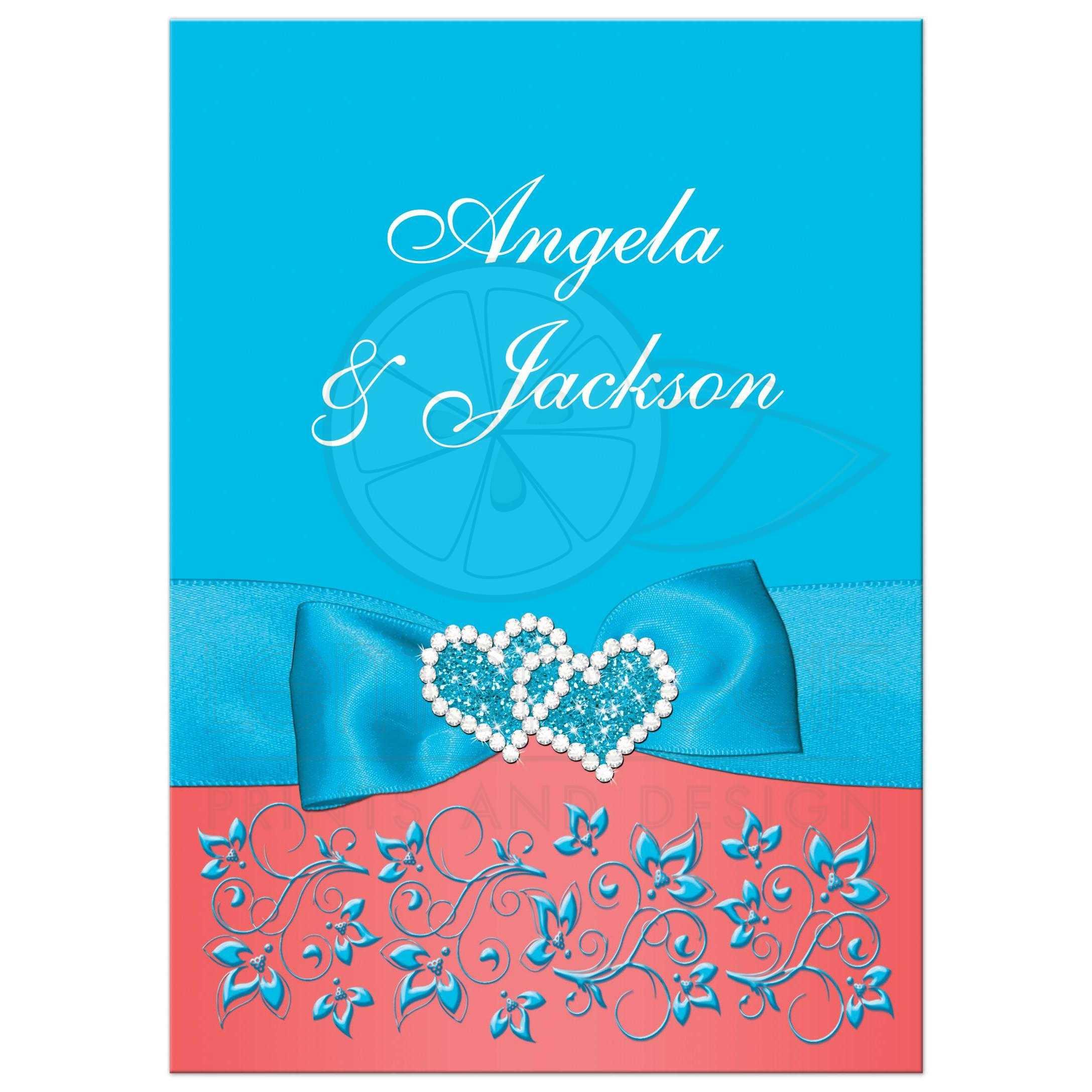 Malibu Blue Coral and White Floral Wedding Invitation PRINTED
