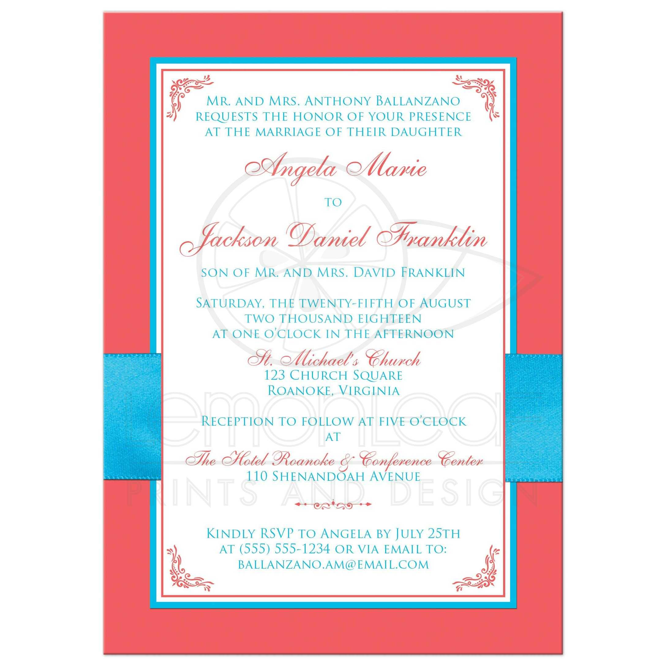 Malibu Blue, Coral, and White Floral Wedding Invitation | PRINTED ...