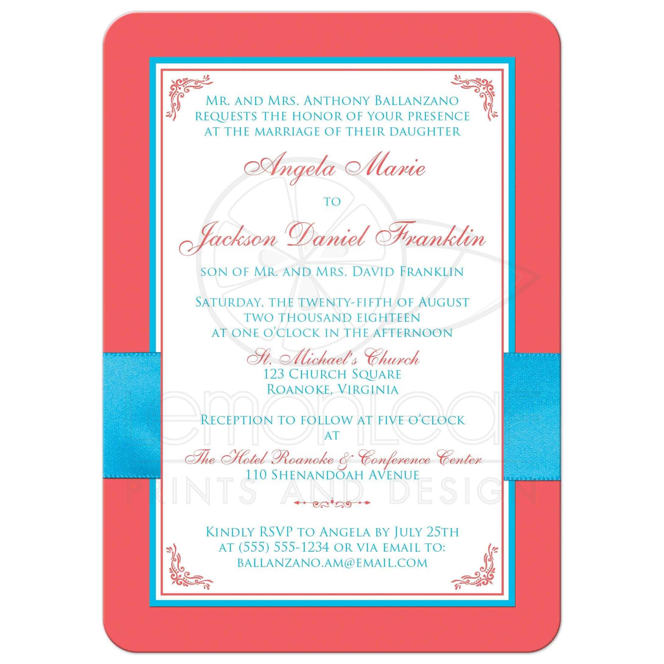 Malibu Blue, Coral, and White Floral Wedding Invitation | PRINTED ...