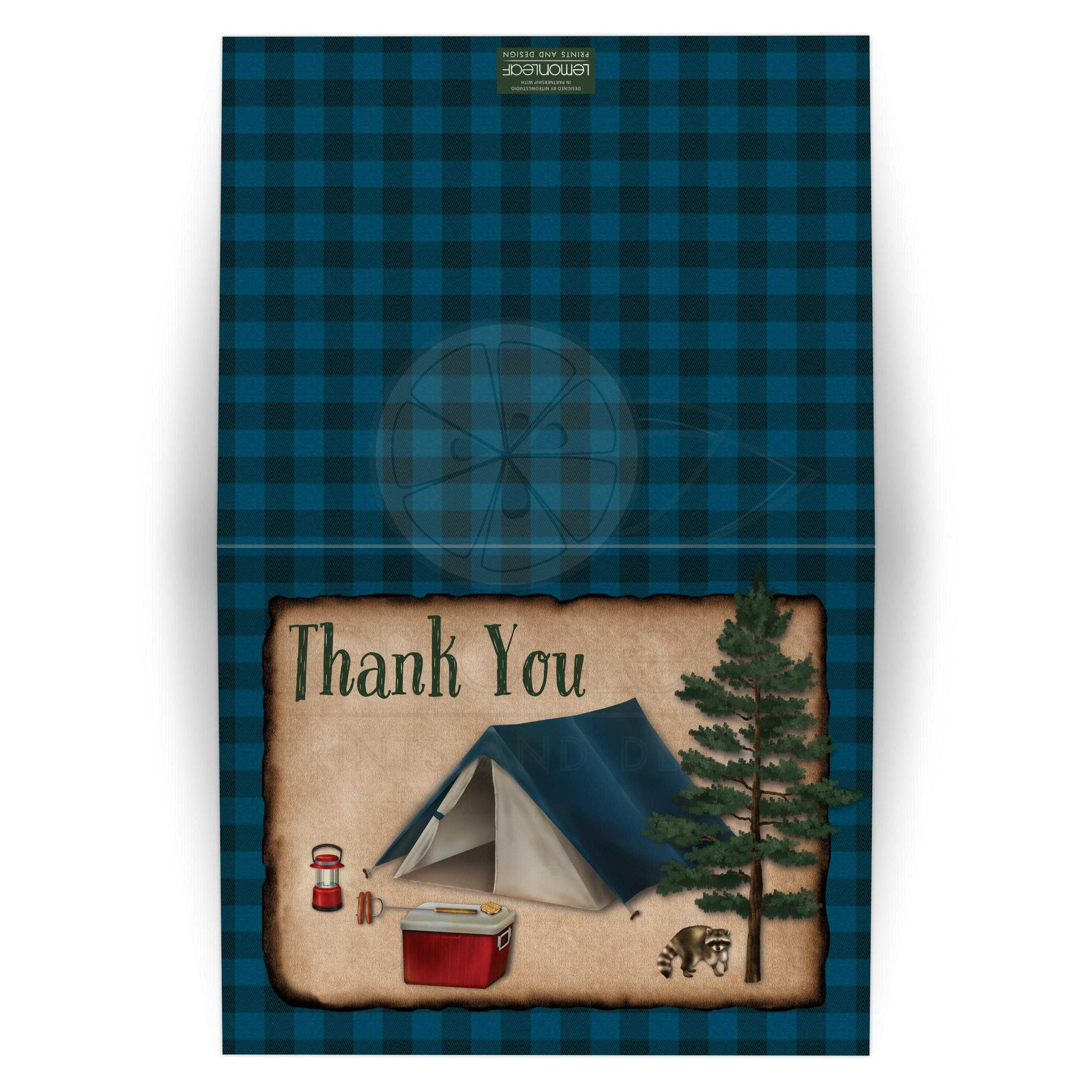 Camping Christmas Cards.Rustic Blue Buffalo Plaid Camping Tenting Fishing Thank You Card