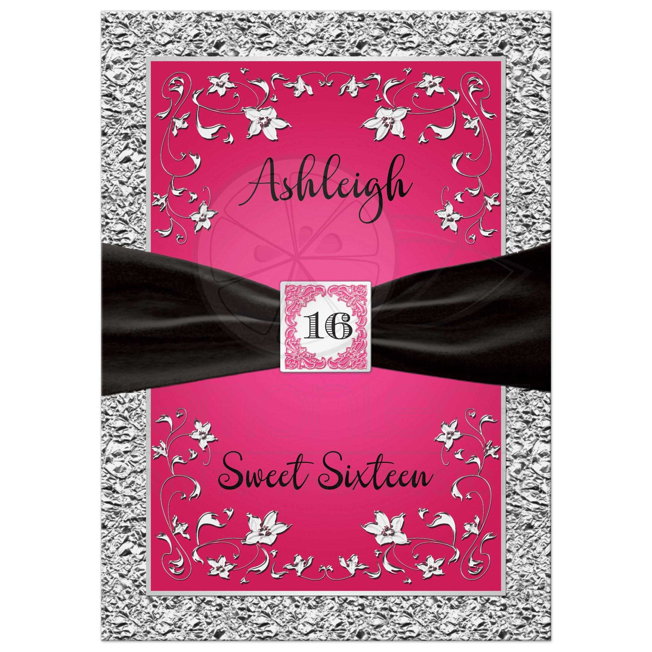 Fuchsia Pink Black And Silver Fl Sweet Six Or Quinceanera Invitation