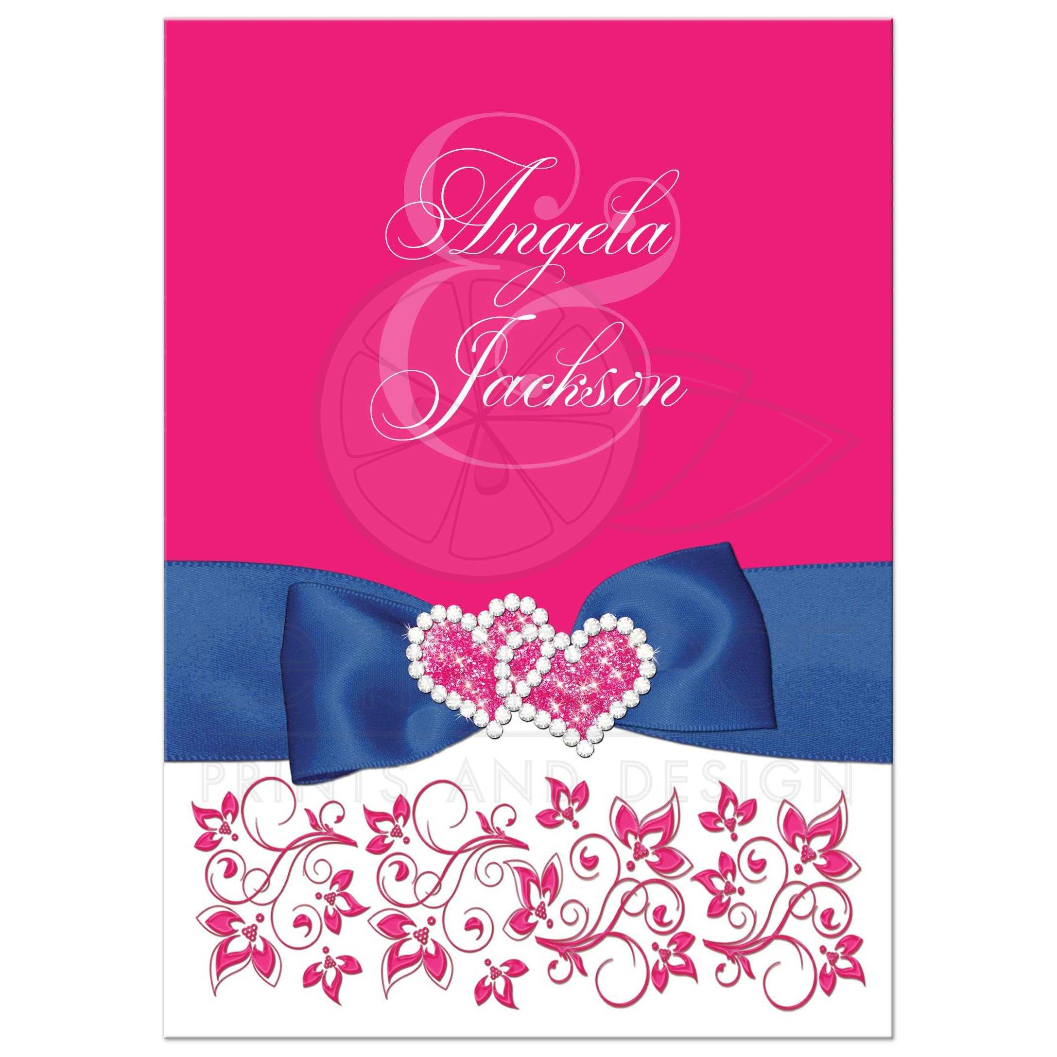 Hot Pink White Floral Printed Royal Blue Ribbon Wedding Invitation