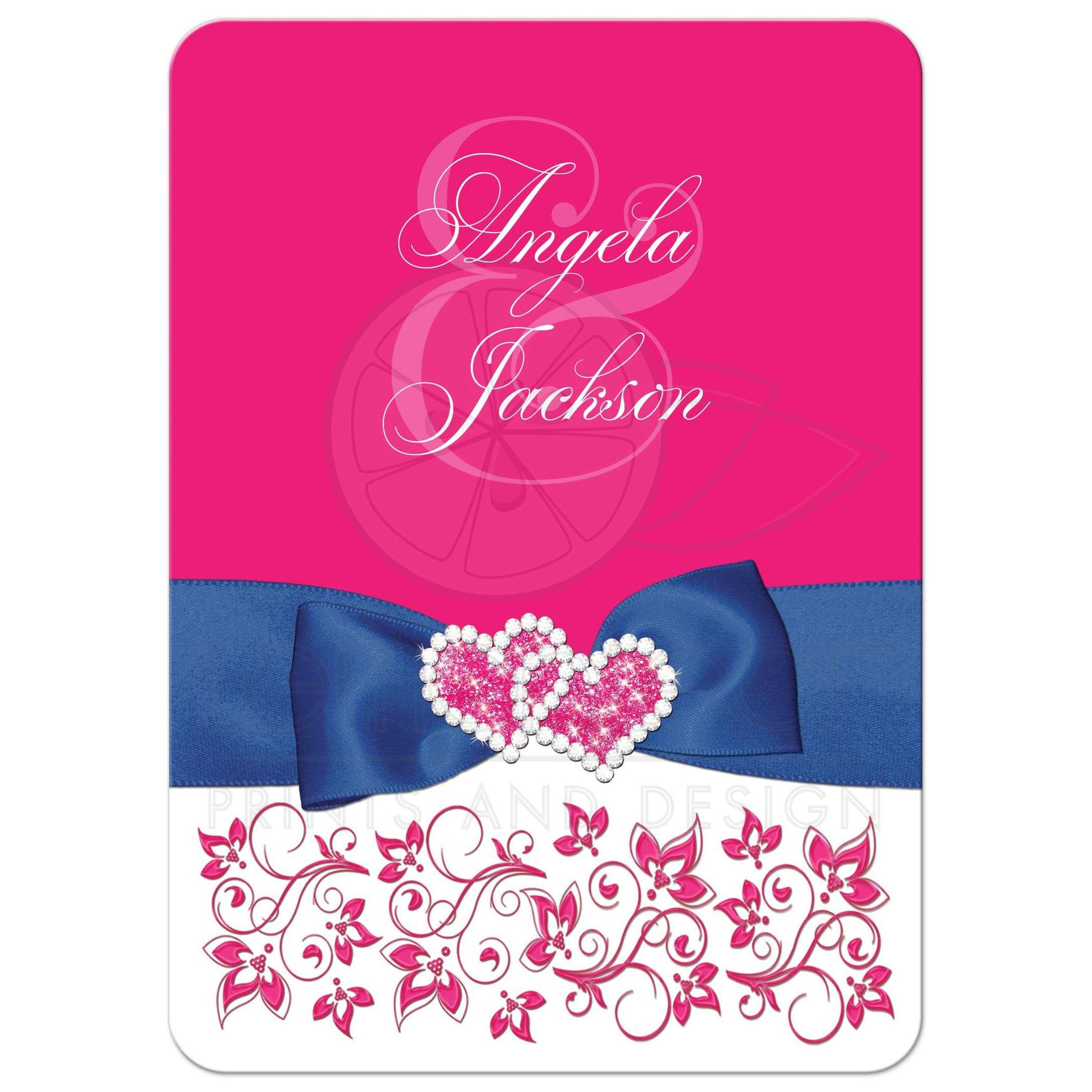 Hot Pink Hearts Personalized Wedding Thank You Cards