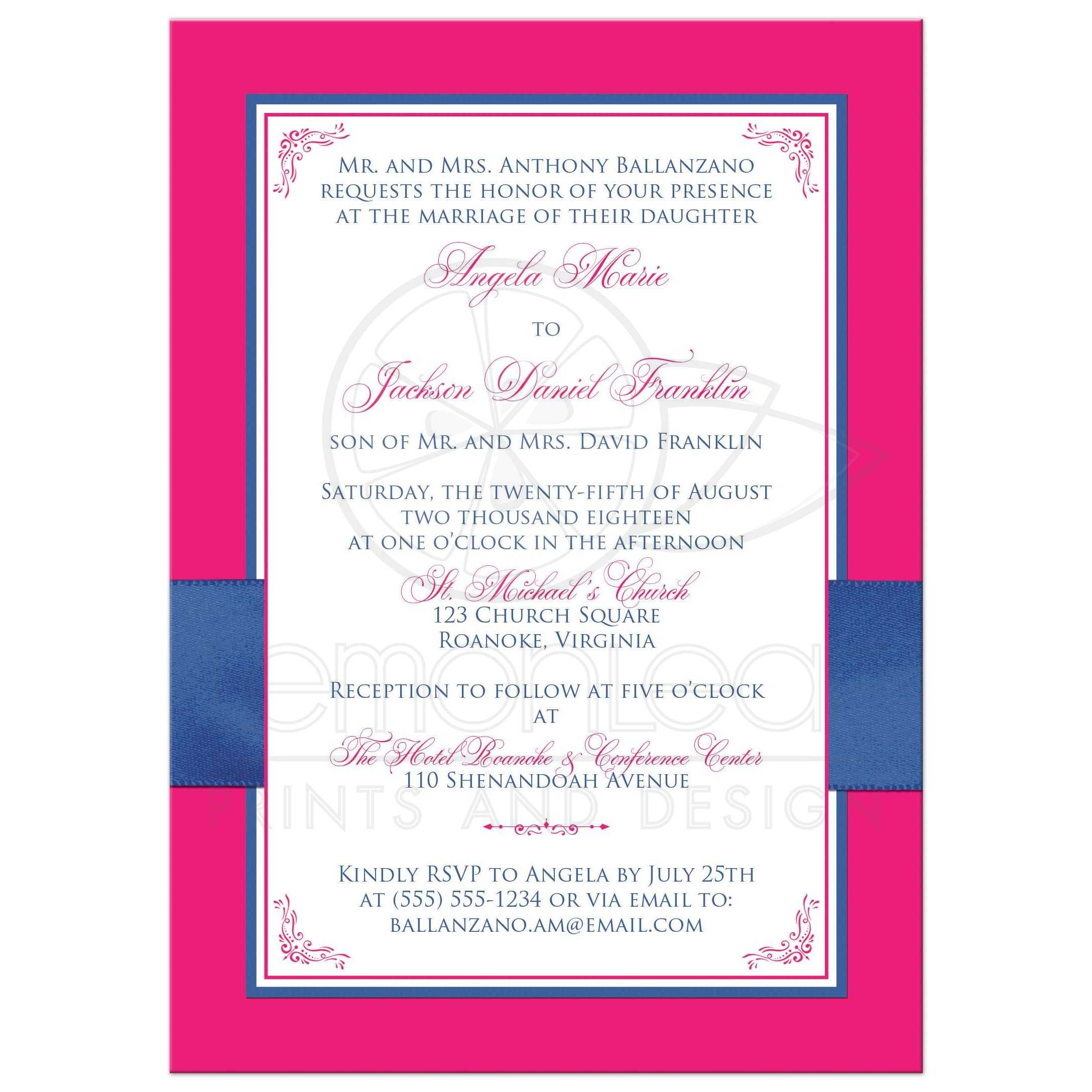 Hot Pink, White Floral, PRINTED Royal Blue Ribbon Wedding Invitation ...