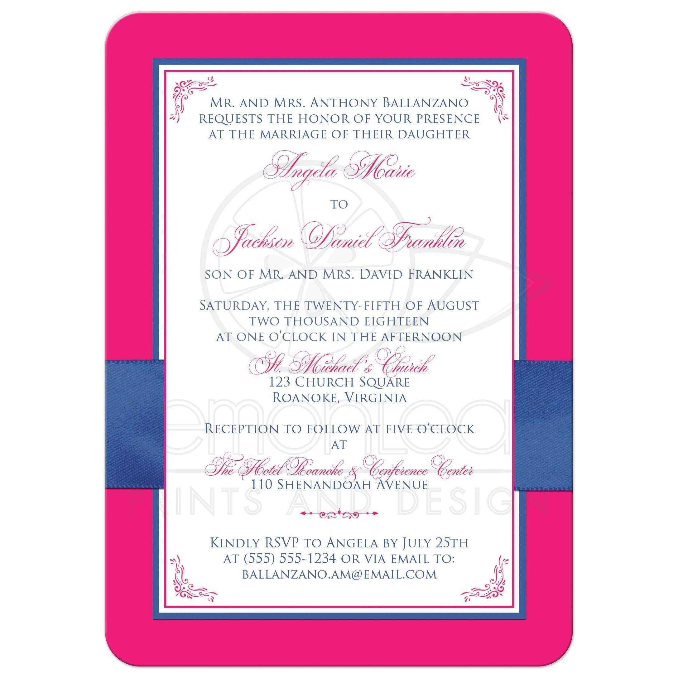 Hot Pink, White Floral, PRINTED Royal Blue Ribbon Wedding Invitation ...