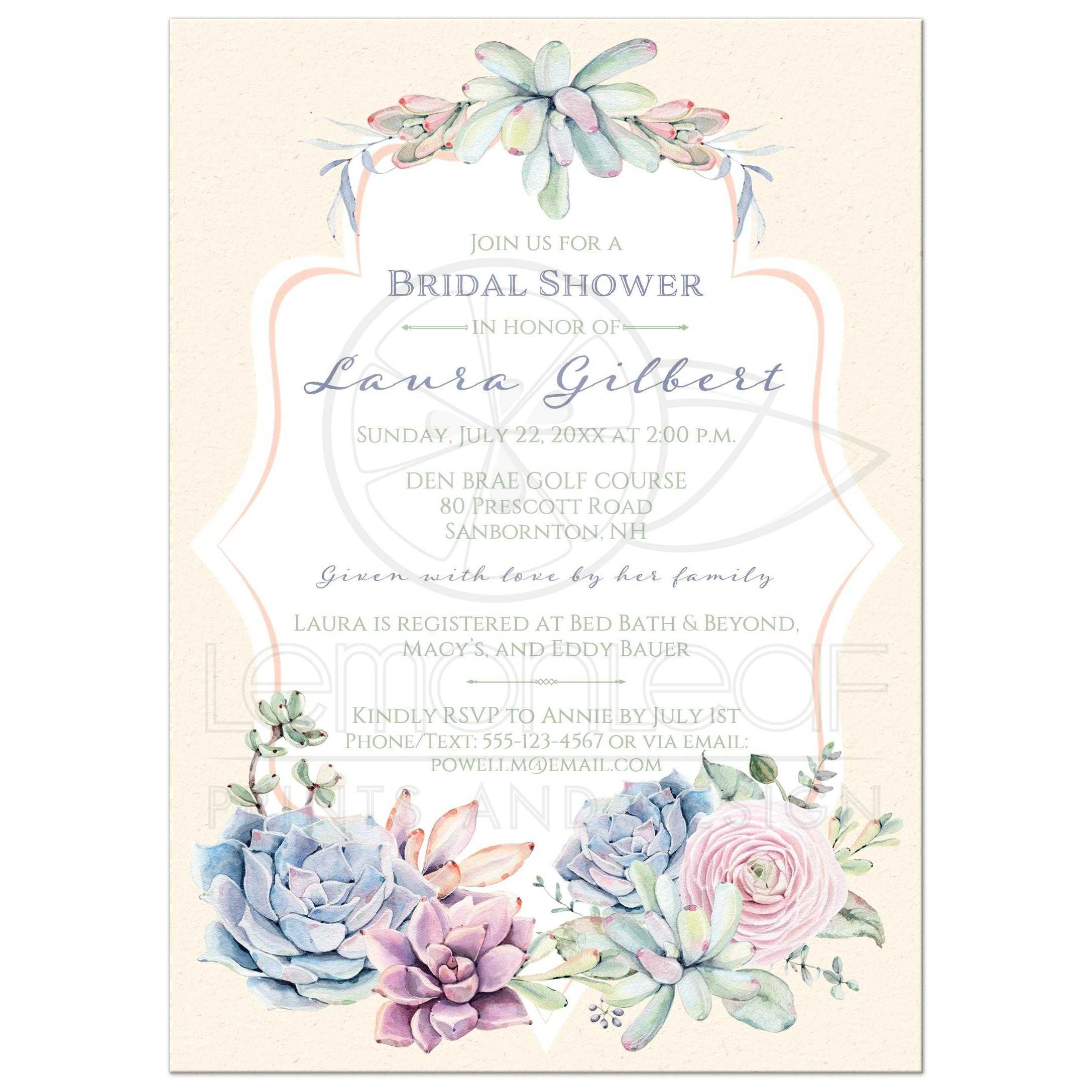 Pastel Watercolor Succulents Bridal Shower Invitation Lavender Peach Ivory Sage Green