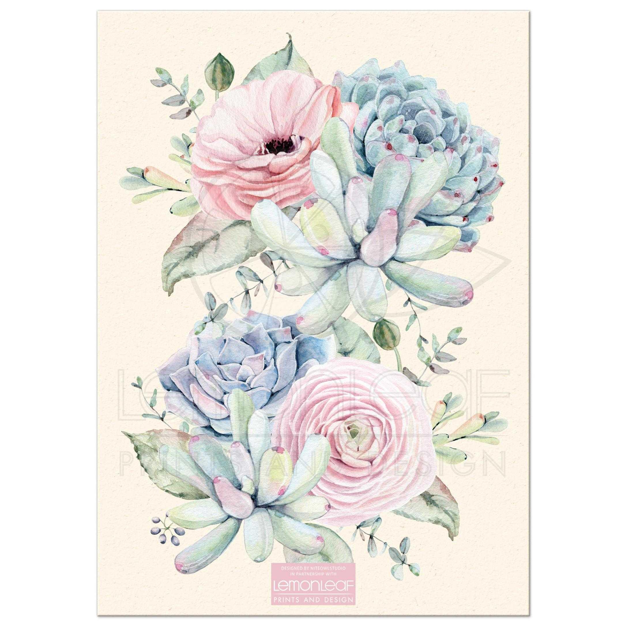 7b20b173aabb Pastel Watercolor Succulents Bridal Shower Invitation