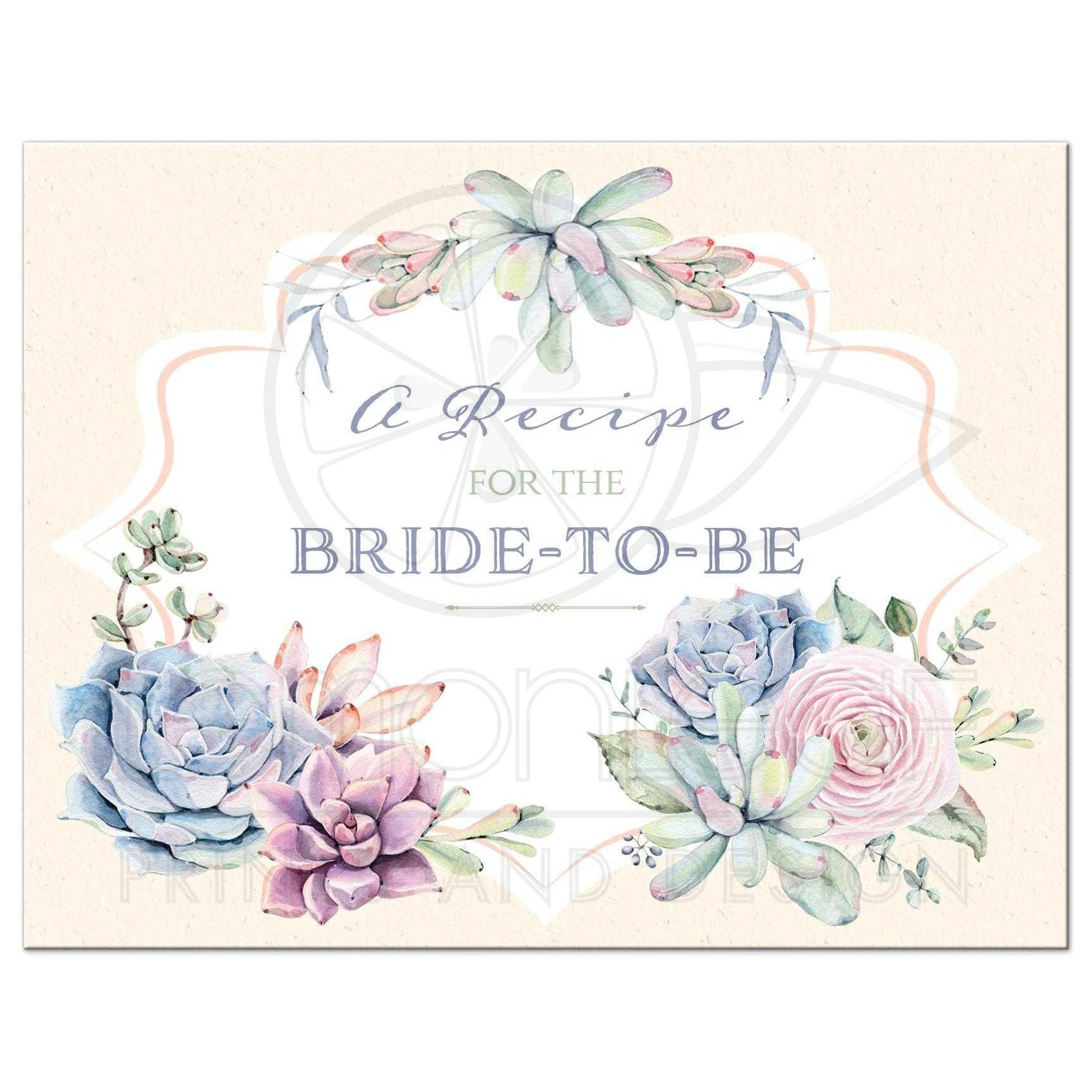 Recipe Card Pastel Watercolors Succulents Blue Lavender Peach Pink Sage Green