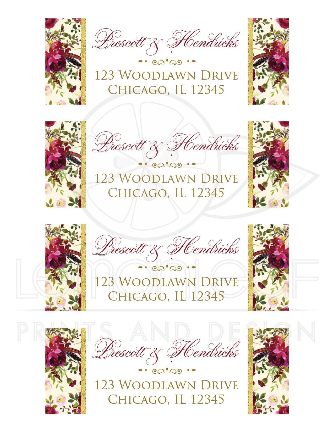 Marsala floral return address labels \u2022 Burgundy and blush mailing labels for Wedding invitations \u2022 Burgundy return address labels \u2022