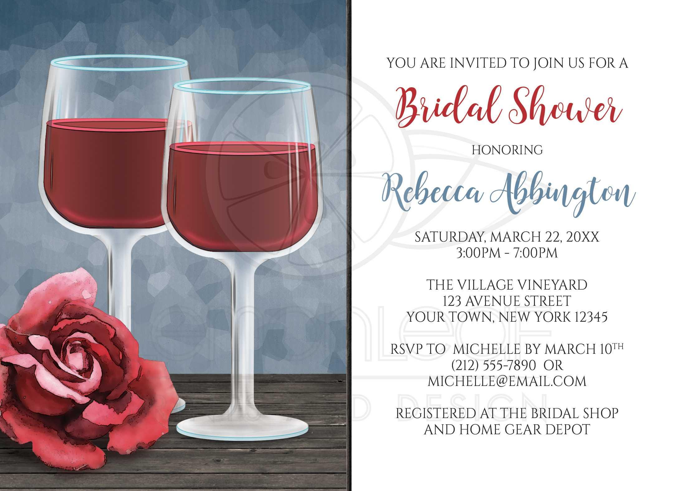 Bridal Shower Invitations - Red Wine Glasses Floral Rose