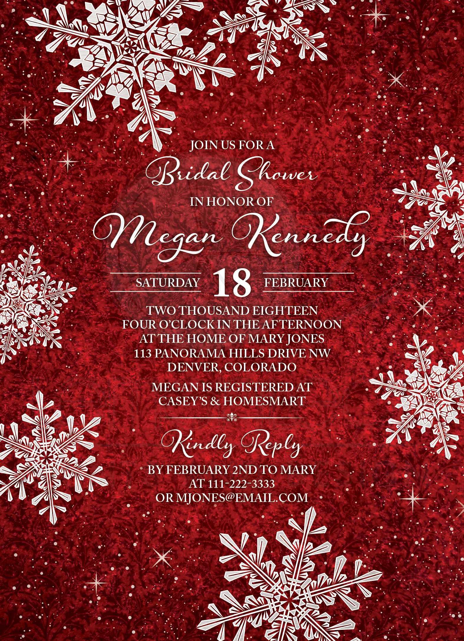 Red White Velvet Look Snowflake Winter Bridal Shower Invitation