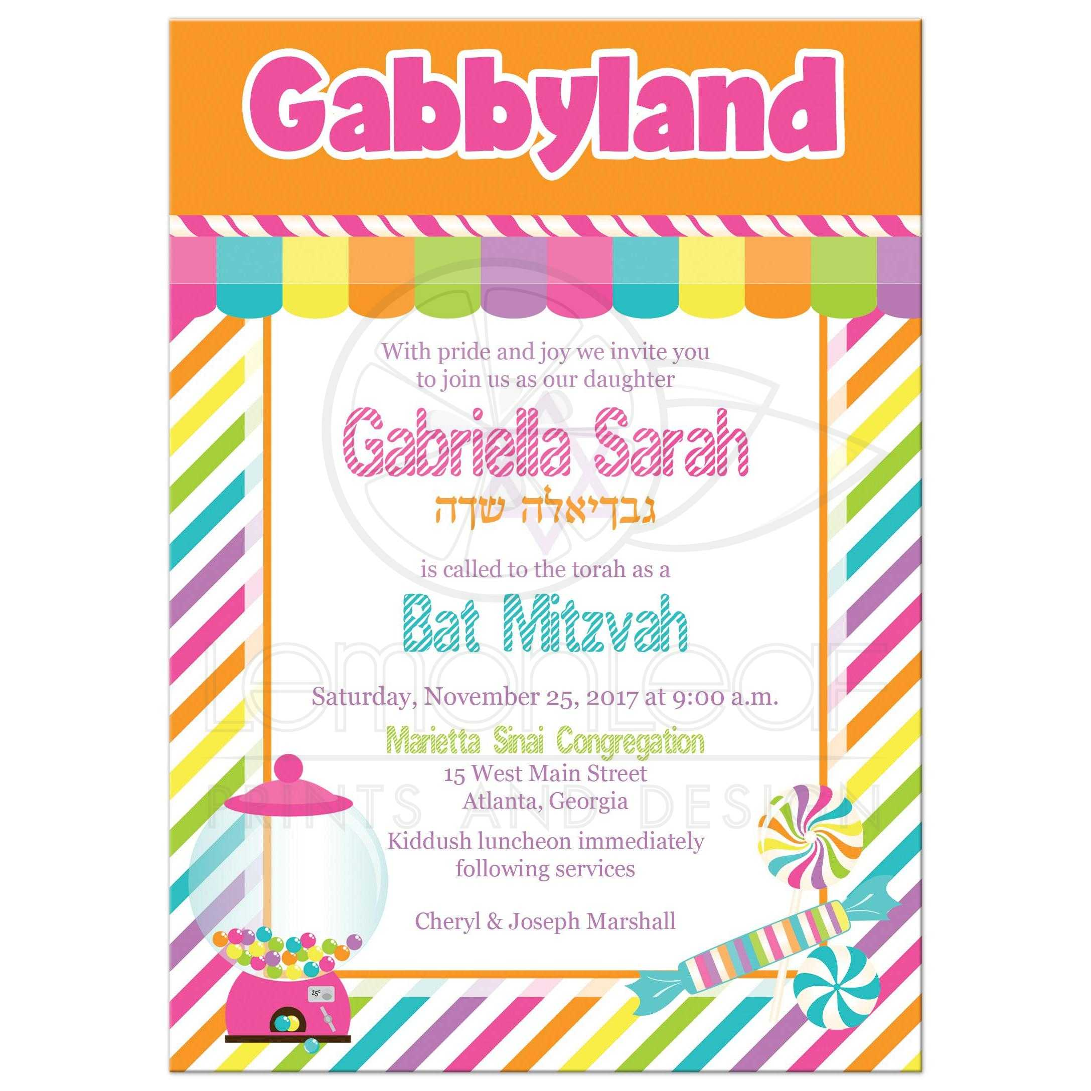 Candyland Bat Mitzvah Invitation Bright Colored Candies Stripes