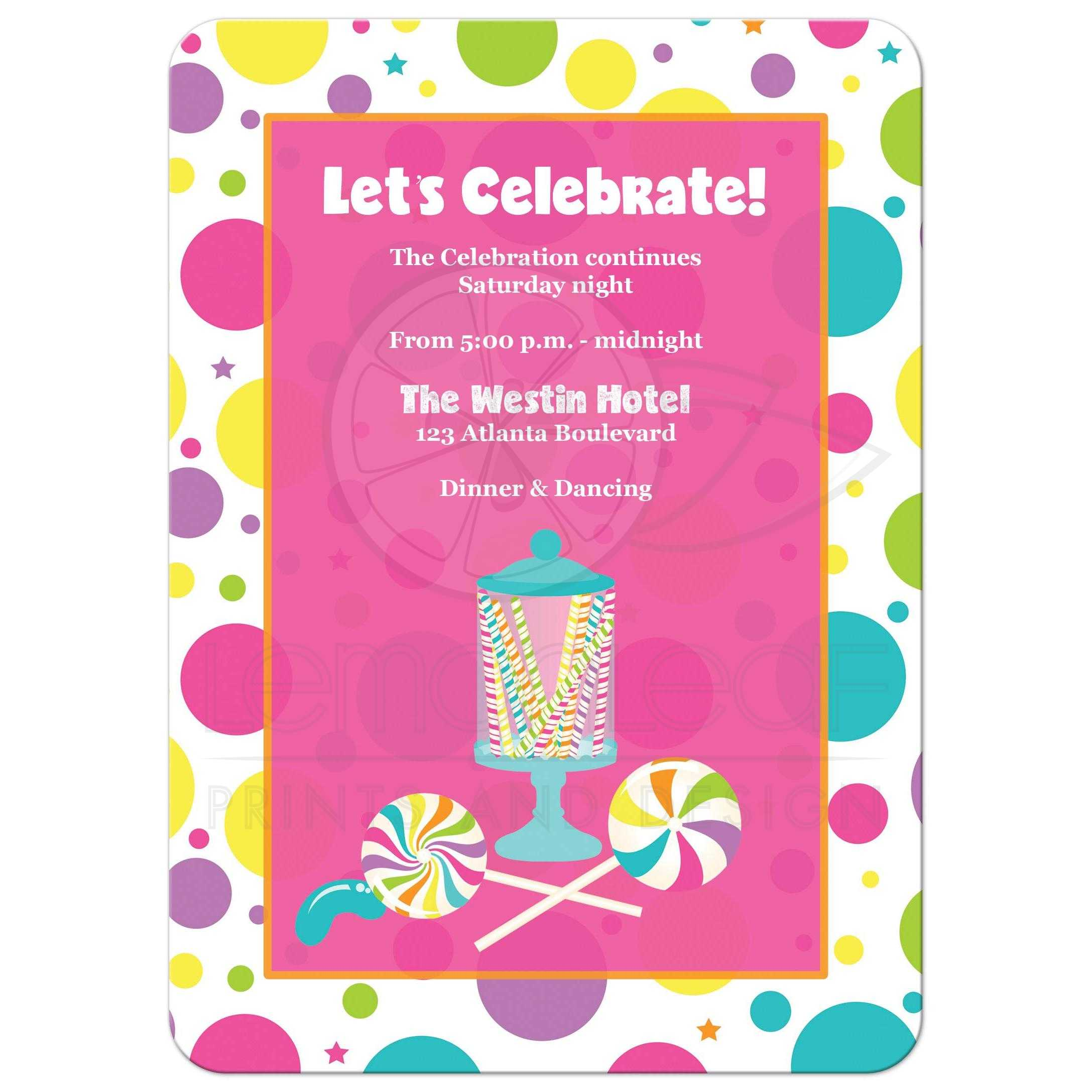 Candyland Bat Mitzvah Invitation | Bright Colored Candies, Stripes ...