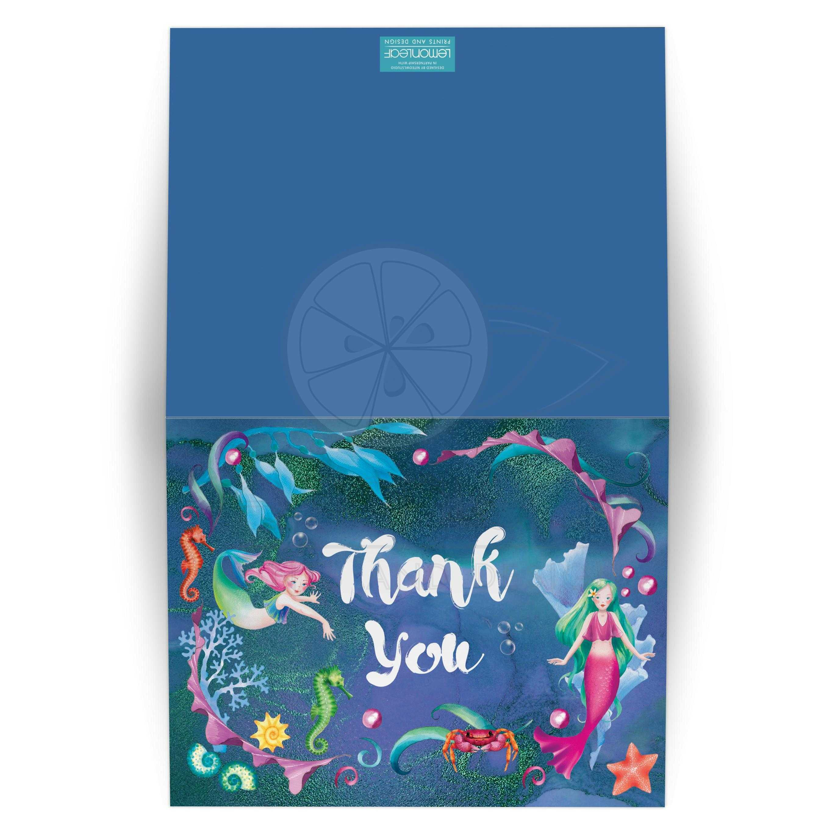 Mermaids Under the Sea Thank You Card - FOLDED