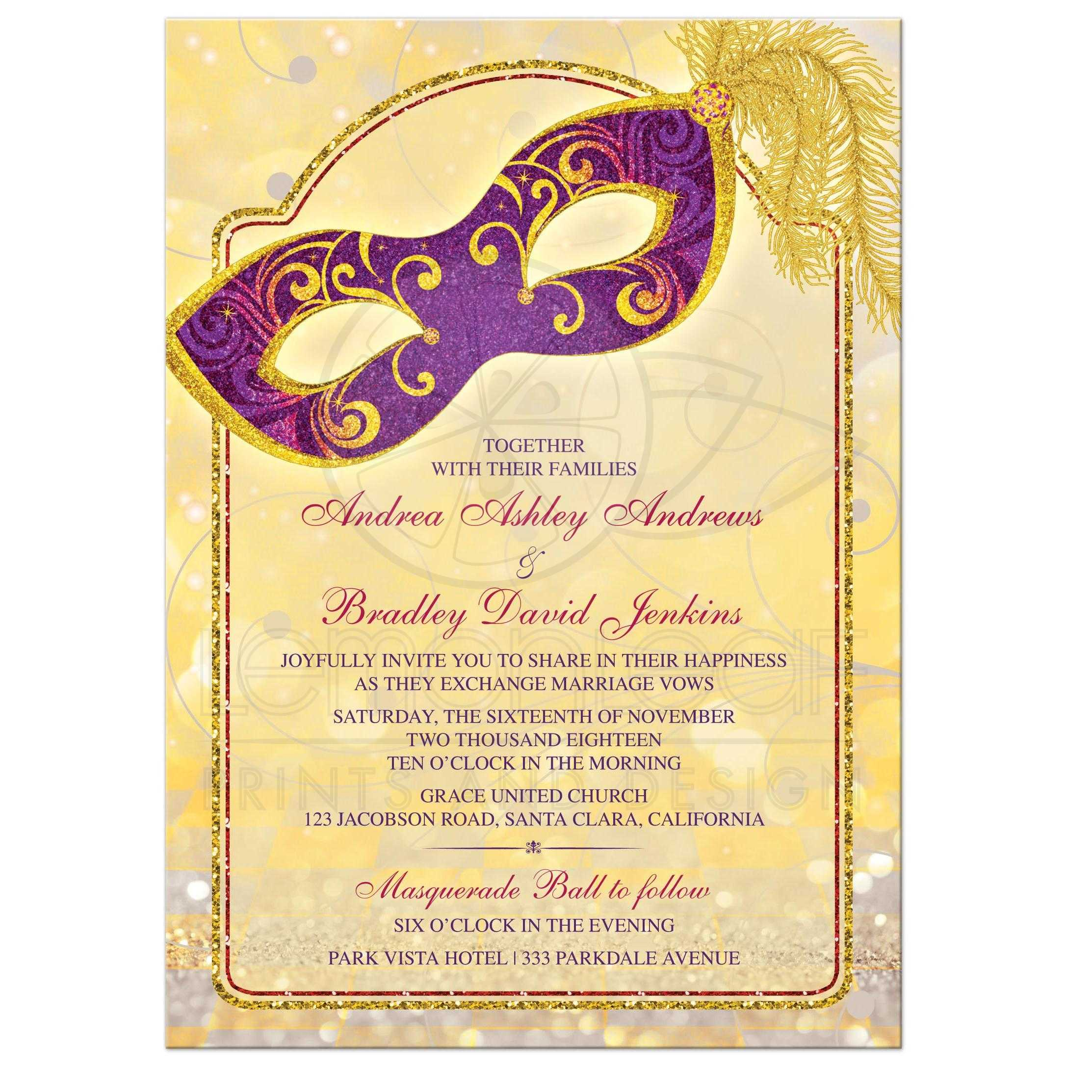 Magical Masquerade Ball Wedding Invitation In Gold Royal Purple And Red Front